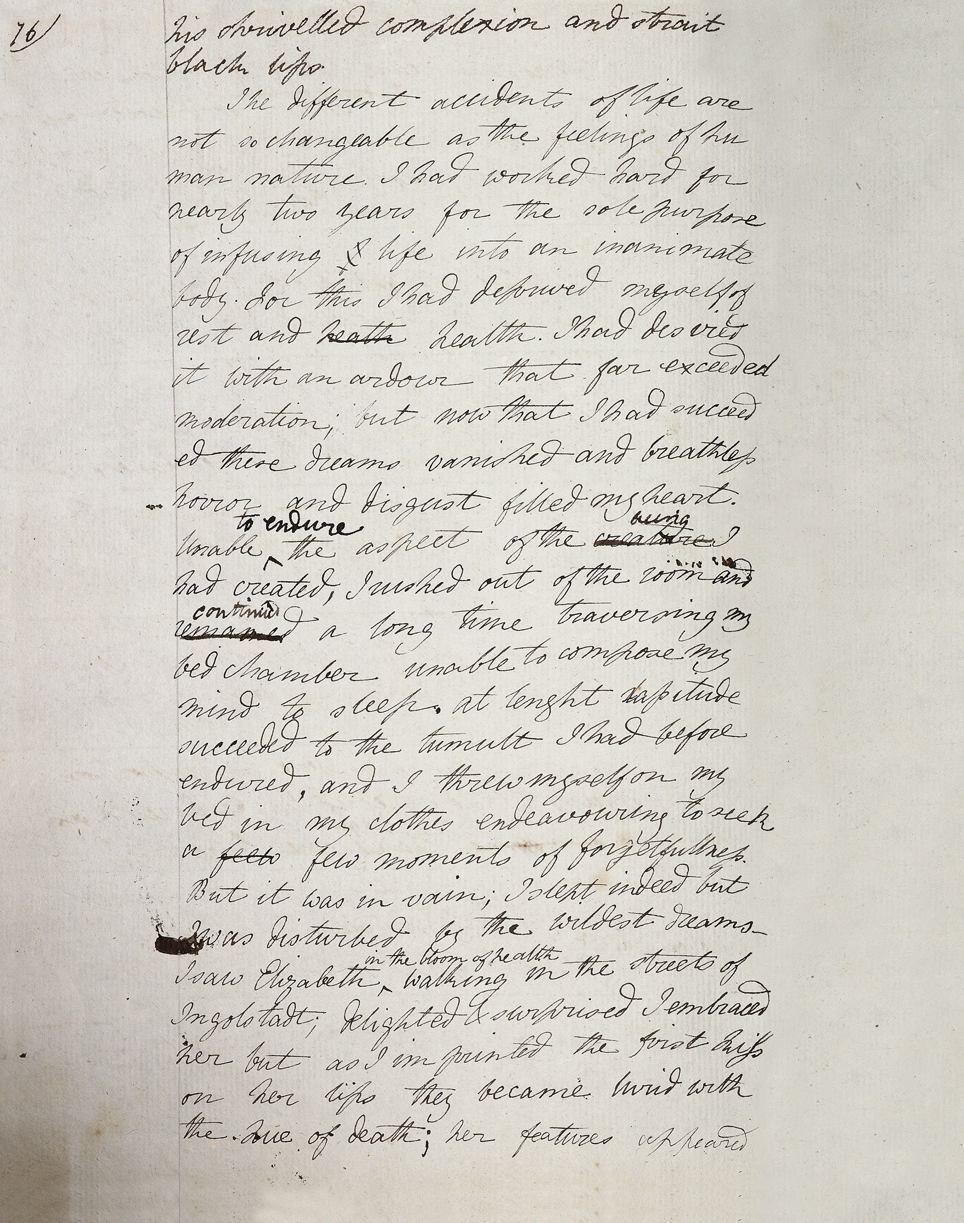 Mary Godwin's manuscript draft of the 'creation' chapter of Frankenstein, written in a notebook purchased in Geneva, and copied from the story she told on the night of 17th/18th of June 1816—the earliest surviving version, dating from that same summer.