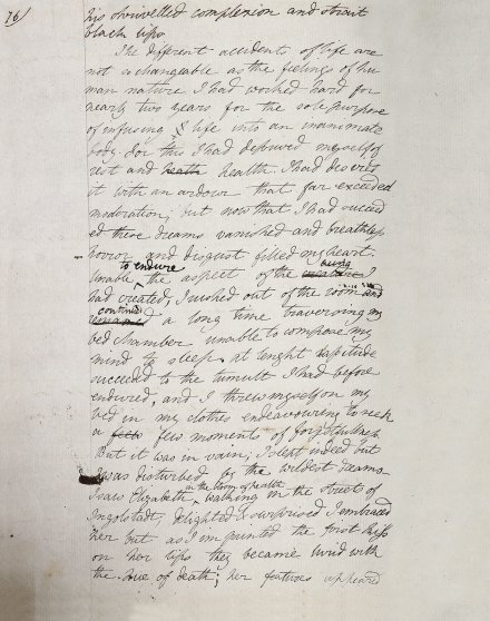 Mary Godwin's manuscript draft of the 'creation' chapter of Frankenstein, written in a notebook purchased in Geneva, and copied from the story she told on the night of 17th/18th 1816—the earliest surviving version, dating from that same summer.