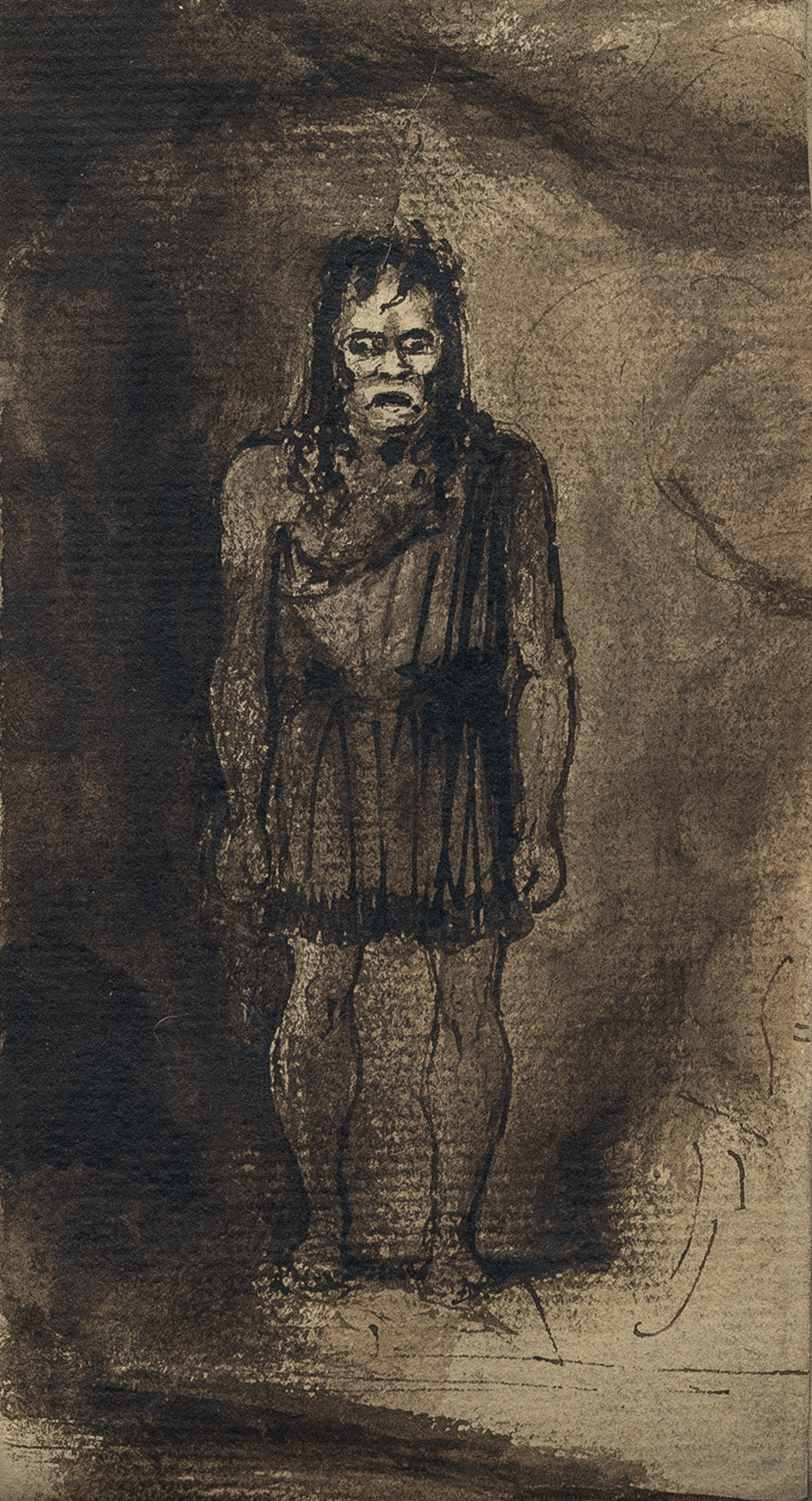 Sketch by Richard Wynn Keene—later known as the designer Dykwynkyn—of the actor O. Smith as the Monster in the first revival of Presumption! or the Fate of Frankenstein, at the English Opera House, Lyceum, in summer 1828, published for the first time in Frankenstein: The First Two Hundred Years.
