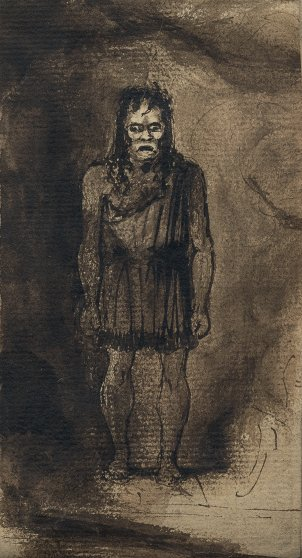 Sketch by Richard Wynn Keene—later known as the designer Dykwynkyn—of the actor O. Smith as the Monster in the first revival of Presumption! or the Fate of Frankenstein, at the English Opera House, Lyceum, in summer 1828, published or the first time in Frankenstein: The First Two Hundred Years.
