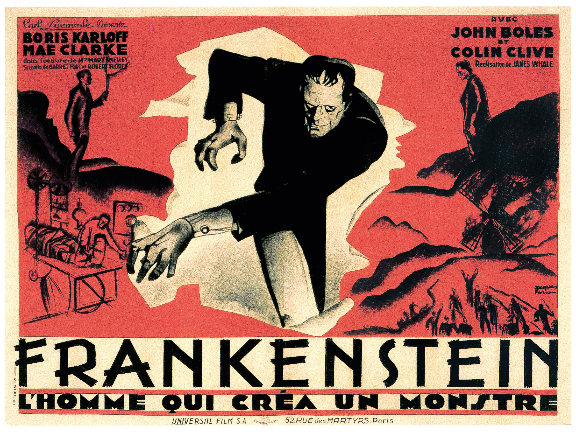 Original French billboard poster for Frankstein by artist Jacques Faria (1931).