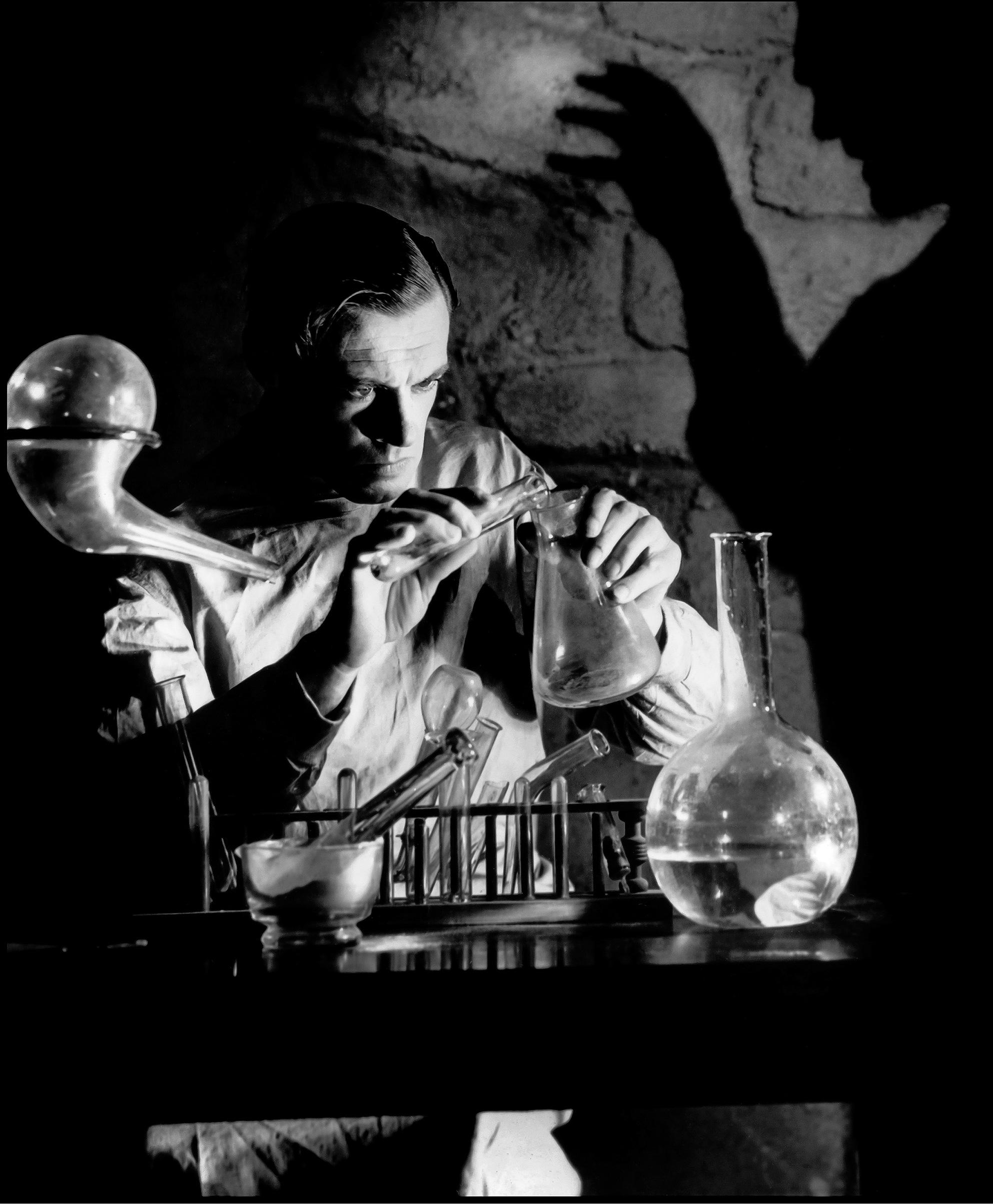 Colin Clive as Dr. Henry Frankenstein, in a publicity still for James Whale's Frankenstein (1931).