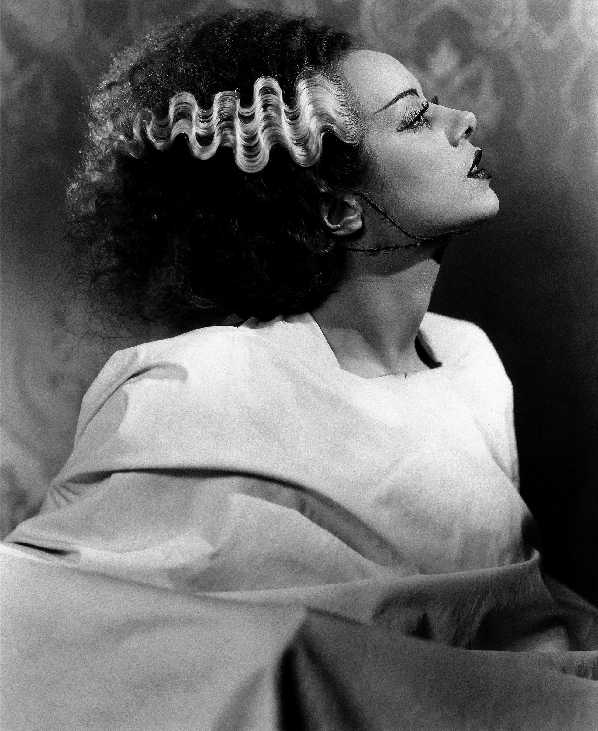 Jack Pierce's makeup for Elsa Lanchester as the Bride, based on visual ideas supplied by James Whale and Ernest Thesiger. 1935.