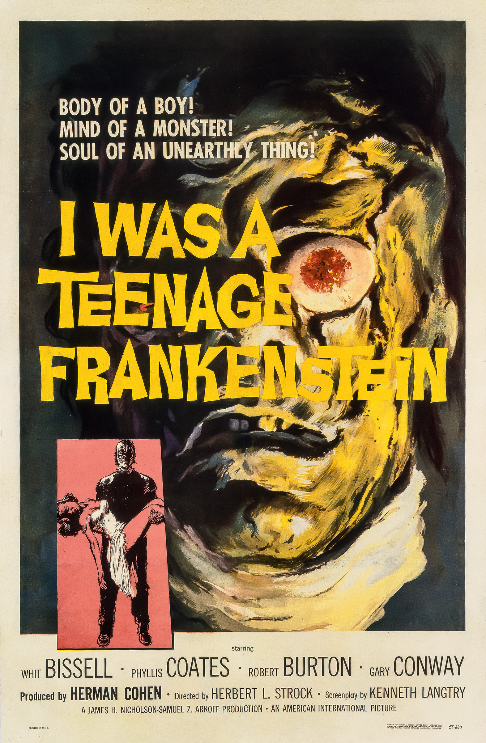 Original American poster for I Was a Teenage Frankenstein (1957), illustrated by Reynold Brown
