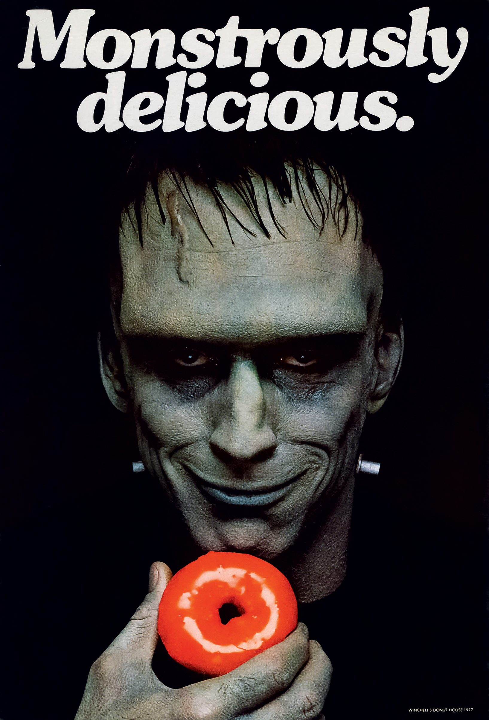 The creature enjoys Winchell's Donuts (1977) with photograph by Sid Avery.