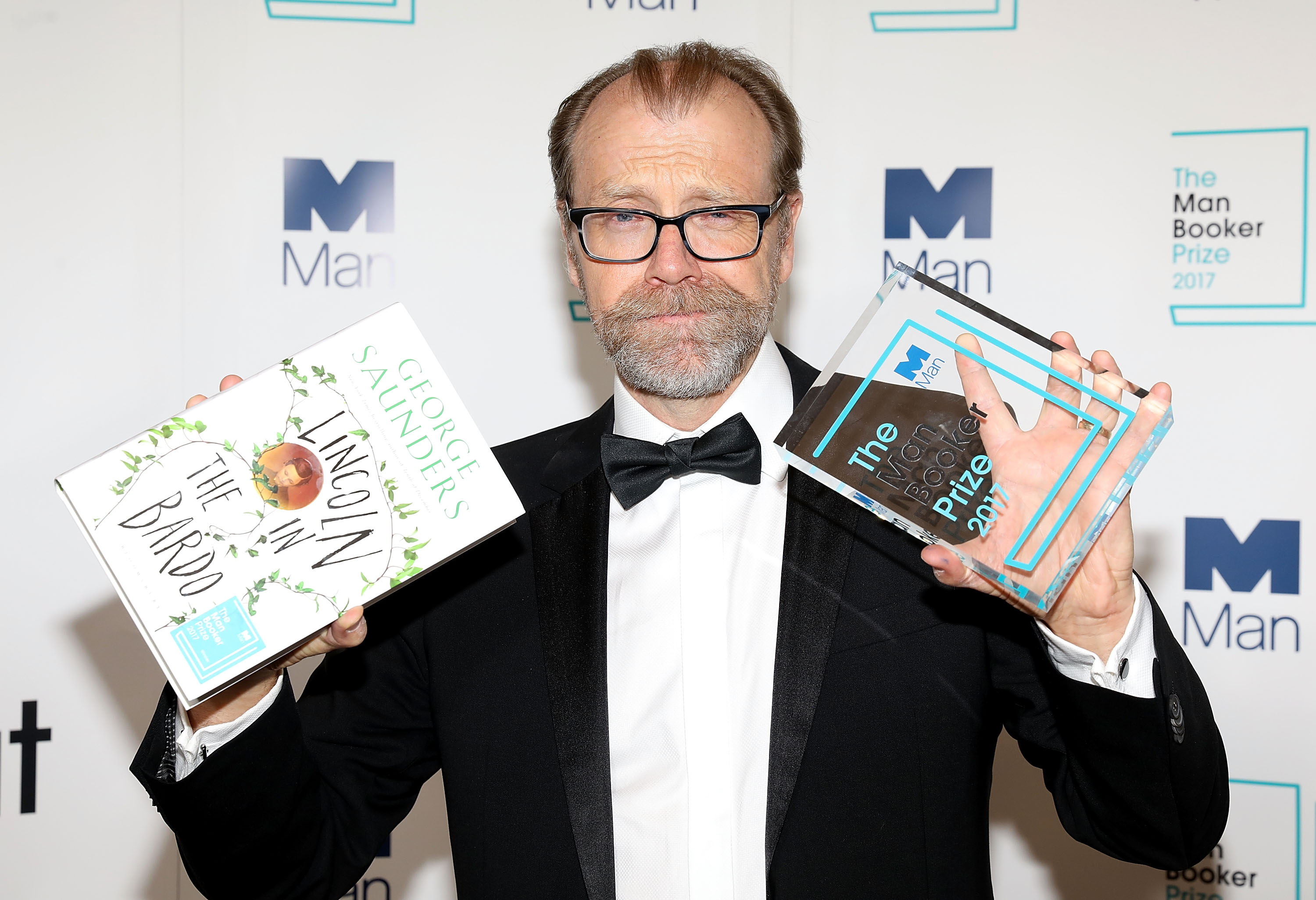 Winning author George Saunders during the Man Booker Prize winner announcement photocall at The Guildhall on October 17, 2017 in London, England.