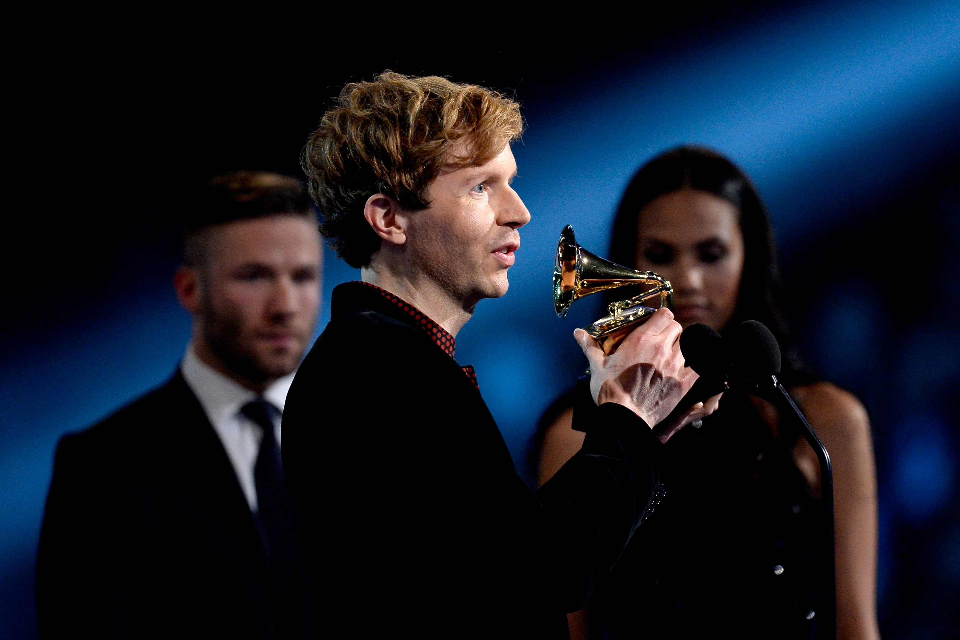 Recording artist Beck accepts the Best Rock Album award for  Morning Phase  onstage during The 57th Annual GRAMMY Awards at the at the STAPLES Center on February 8, 2015 in Los Angeles, California.