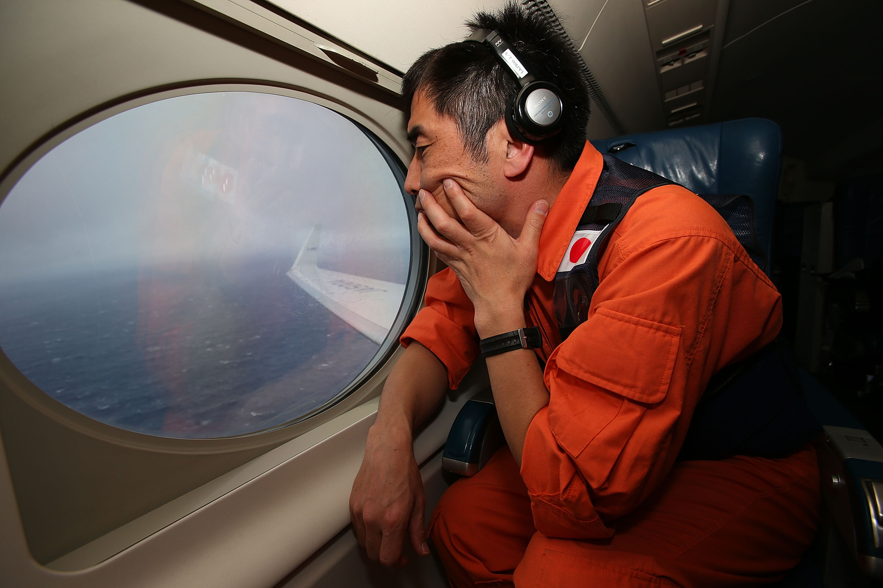 The Japan Coast Guard keeps watch for debris in the search zone for debris from Malaysia Airlines flight MH370 on April 1, 2014.