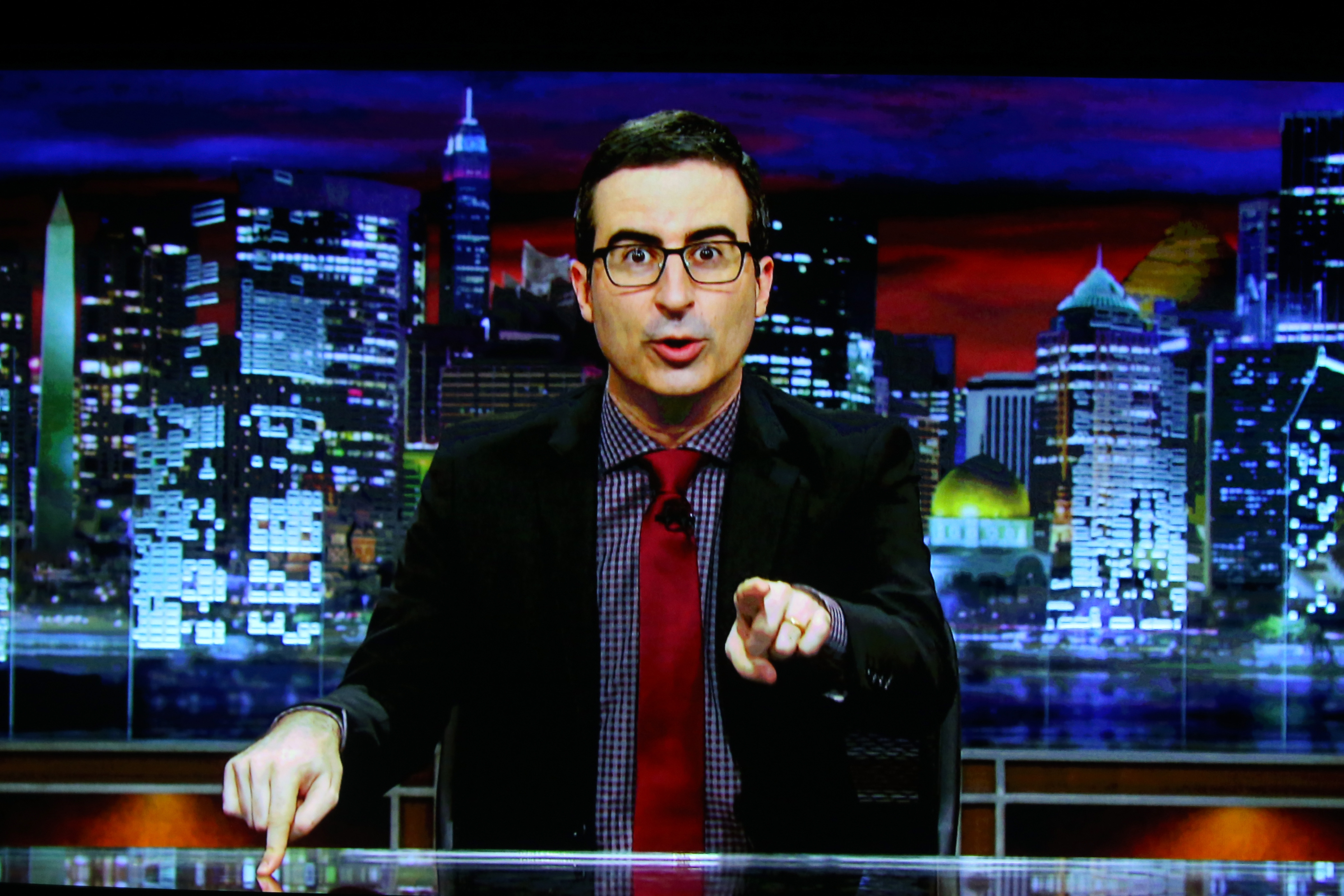 John Oliver accepts the TCA Award for Outstanding Achievement in News and Information for 'Last Week Tonight with John Oliver; via video on Aug. 8, 2015.