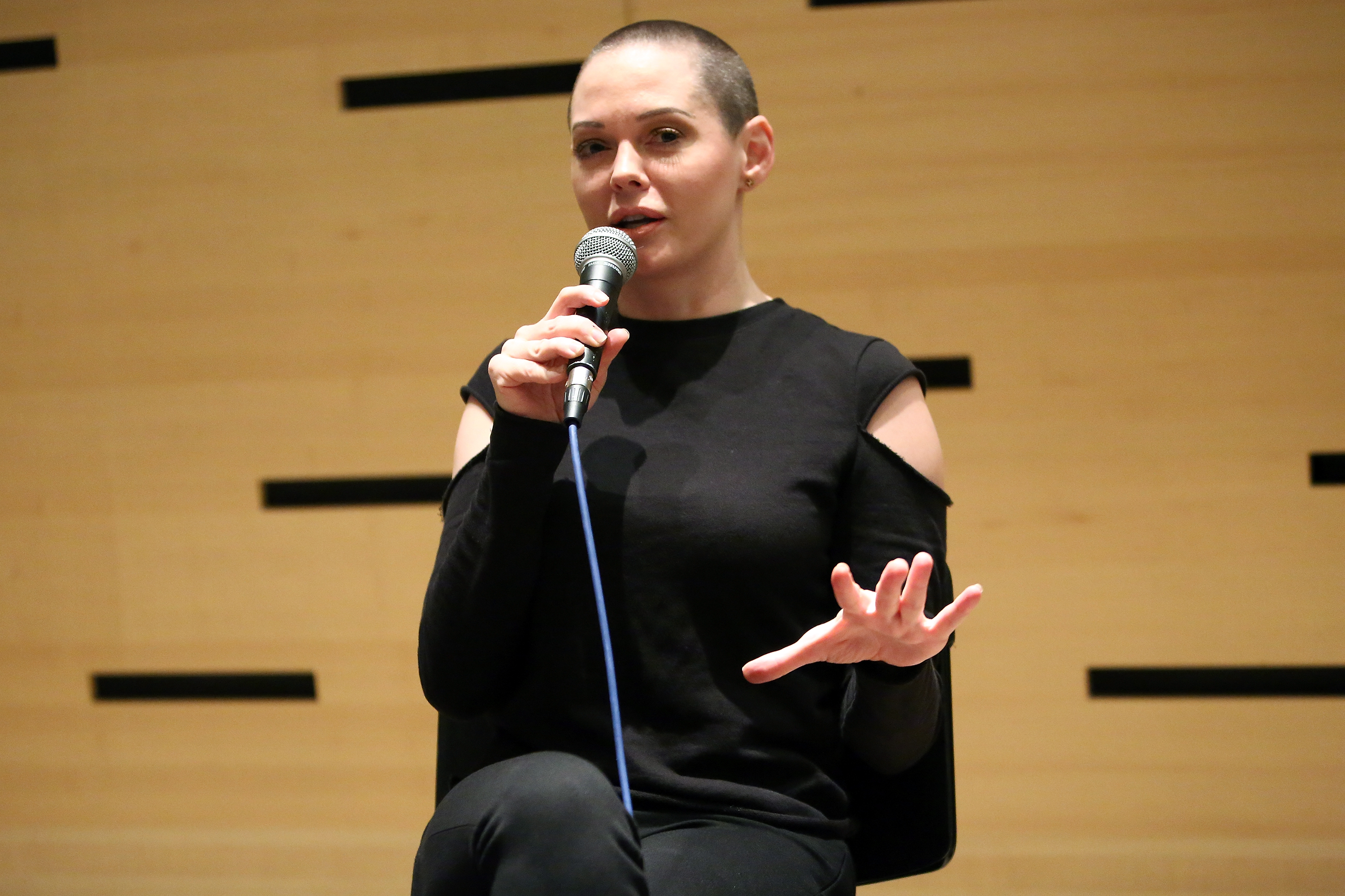 Actress and filmmaker Rose McGowan speaks at 54th New York Film Festival in Lincoln Center on Oct. 7, 2016 in New York City.