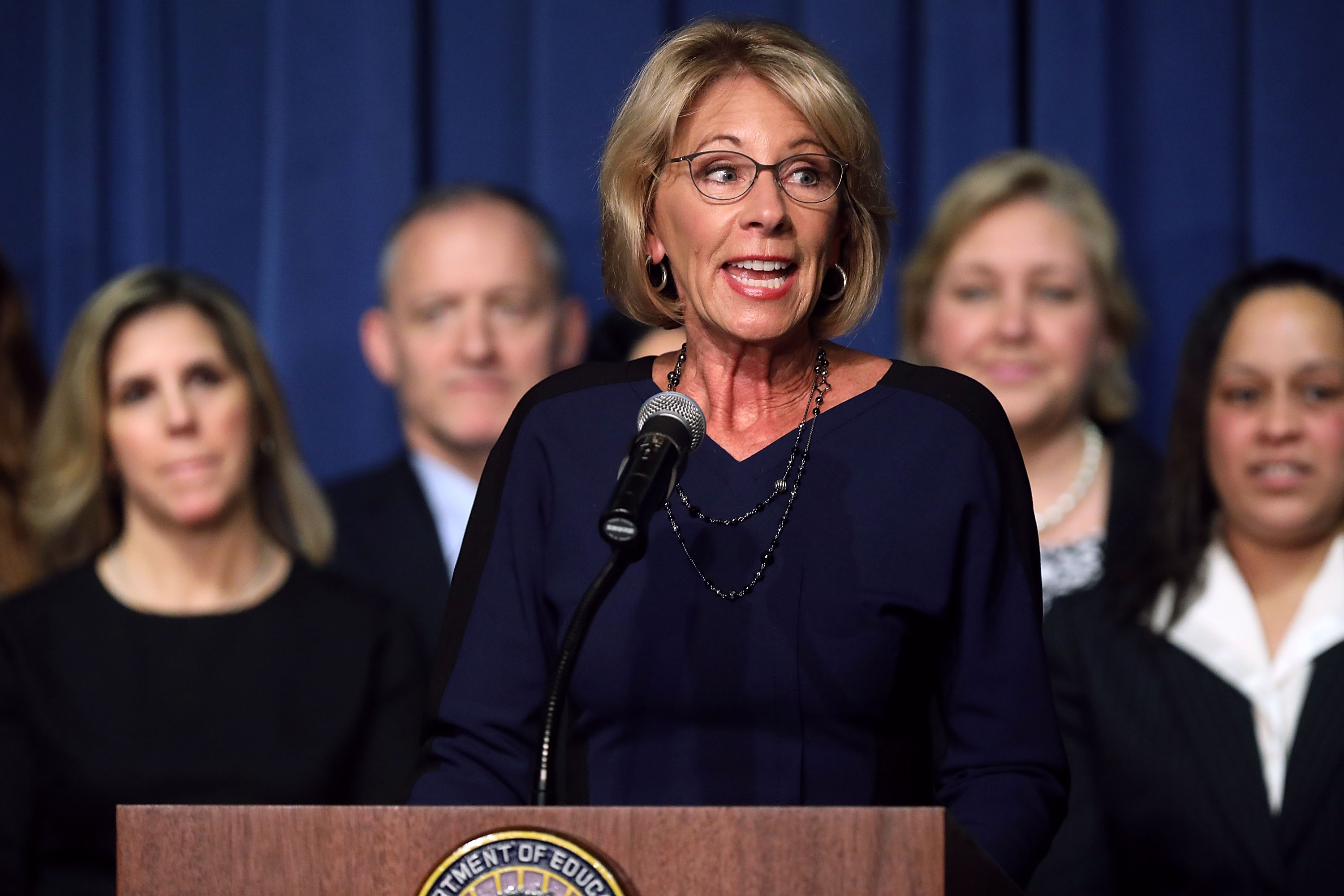 Education Secretary Betsy DeVos delivers remarks to employees on her first day on the job at the Department of Education February 8, 2017 in Washington, DC.
