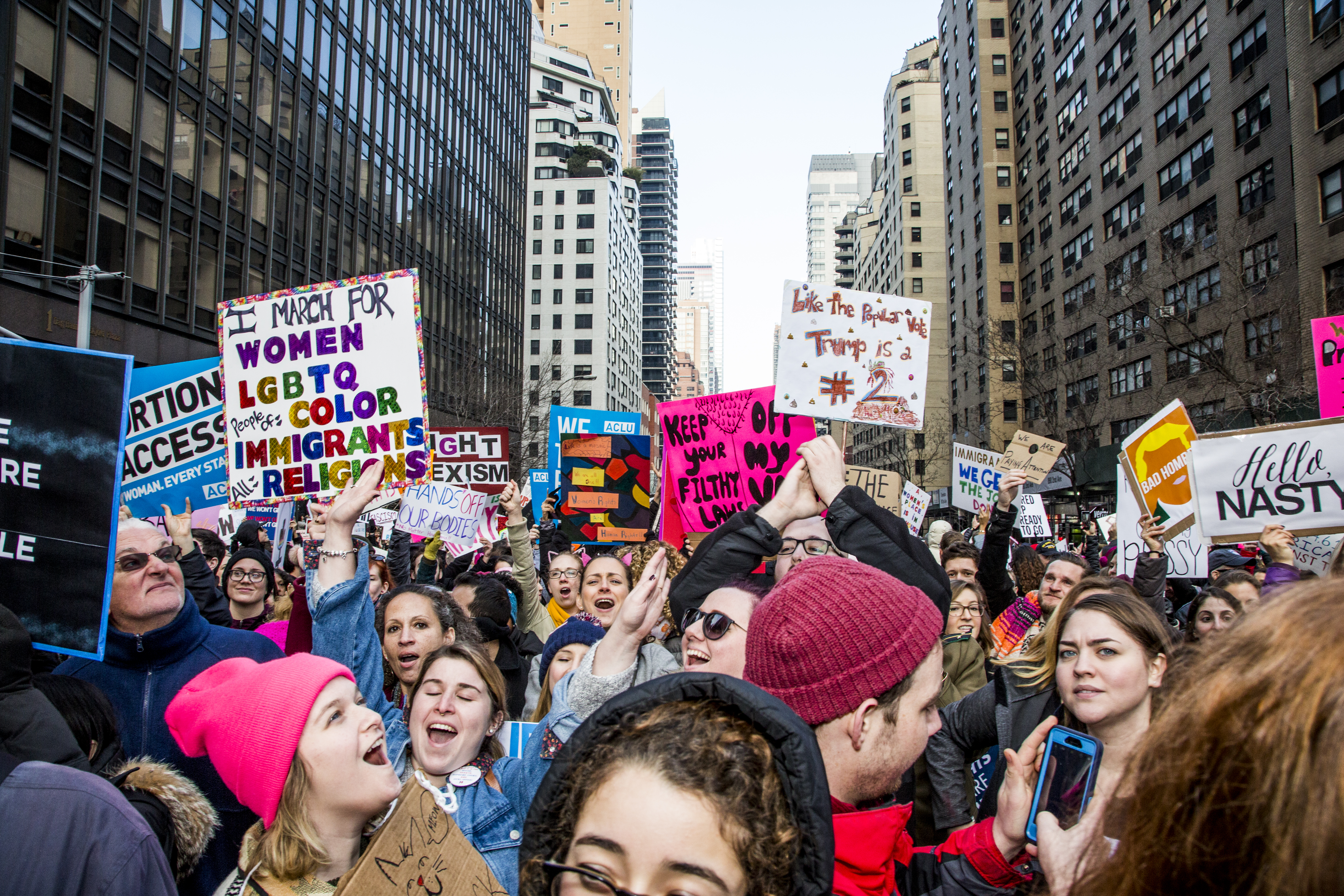 Over 400 thousand protestors participated in the NYC Women's March on Jan. 21, 2017 in resistance to US President Donald Trump. (Brit Worgan-- Getty)