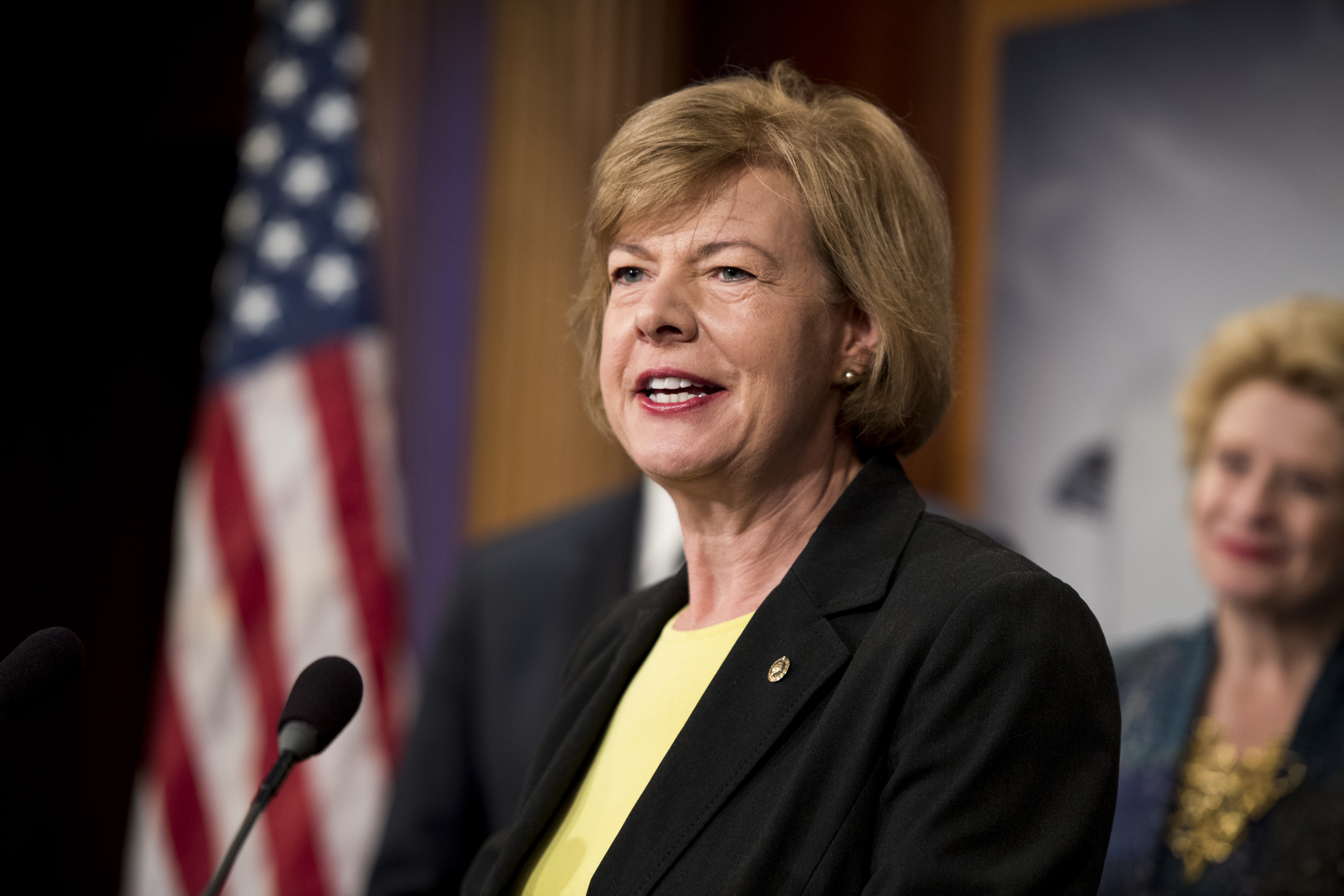 Sen. Tammy Baldwin, D-Wisc., during a news conference to discuss on April 25, 2017.