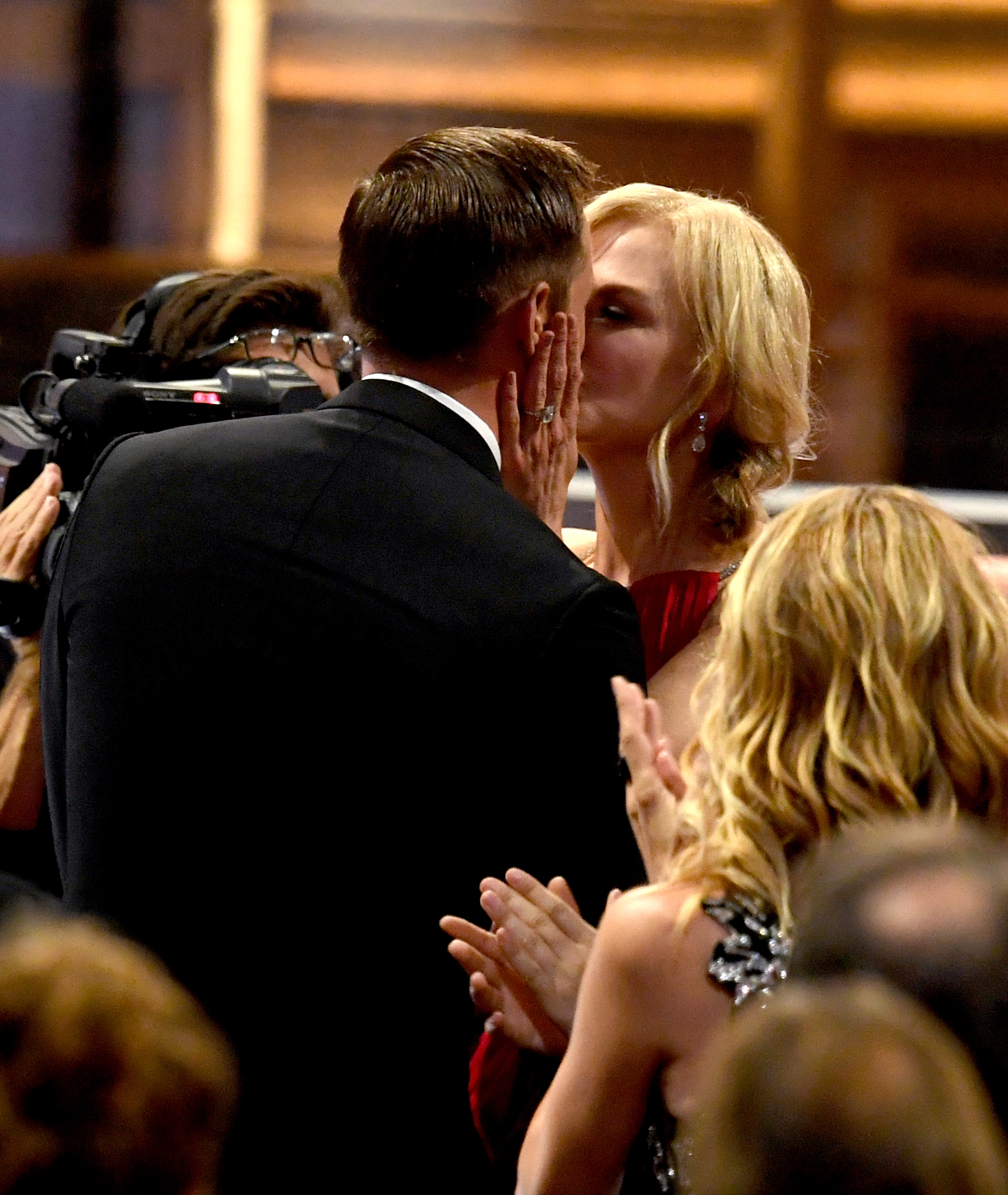 LOS ANGELES, CA - SEPTEMBER 17:  Actor Alexander Skarsgard kisses actress Nicole Kidman as he goes to accept Outstanding Supporting Actor in a Limited Serier or Movie for  Big Little Lies  with actor during the 69th Annual Primetime Emmy Awards at Microsoft Theater on September 17, 2017 in Los Angeles, California.  (Photo by Kevin Winter/Getty Images)