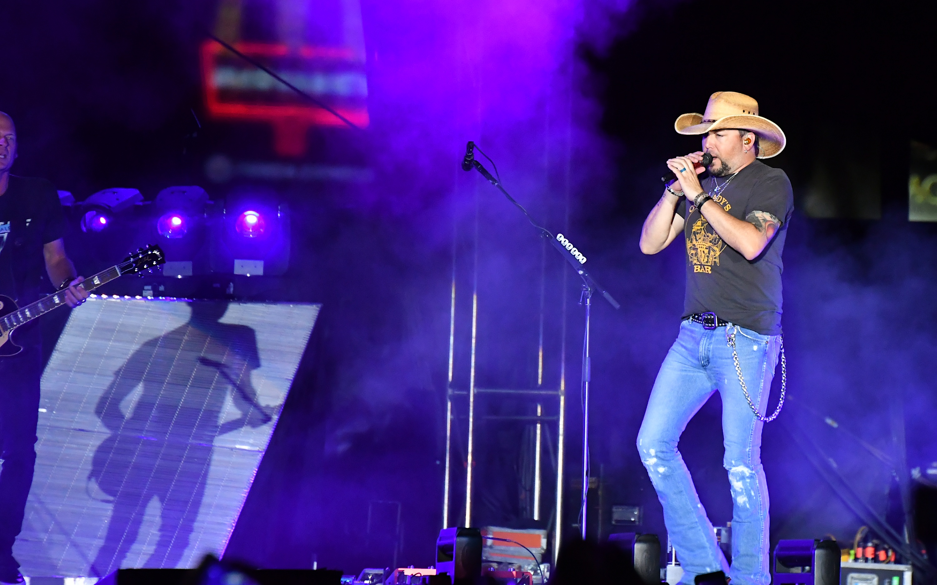 Recording artist Jason Aldean performs during the Route 91 Harvest country music festival at the Las Vegas Village on Oct. 1, 2017 in Las Vegas, Nevada.