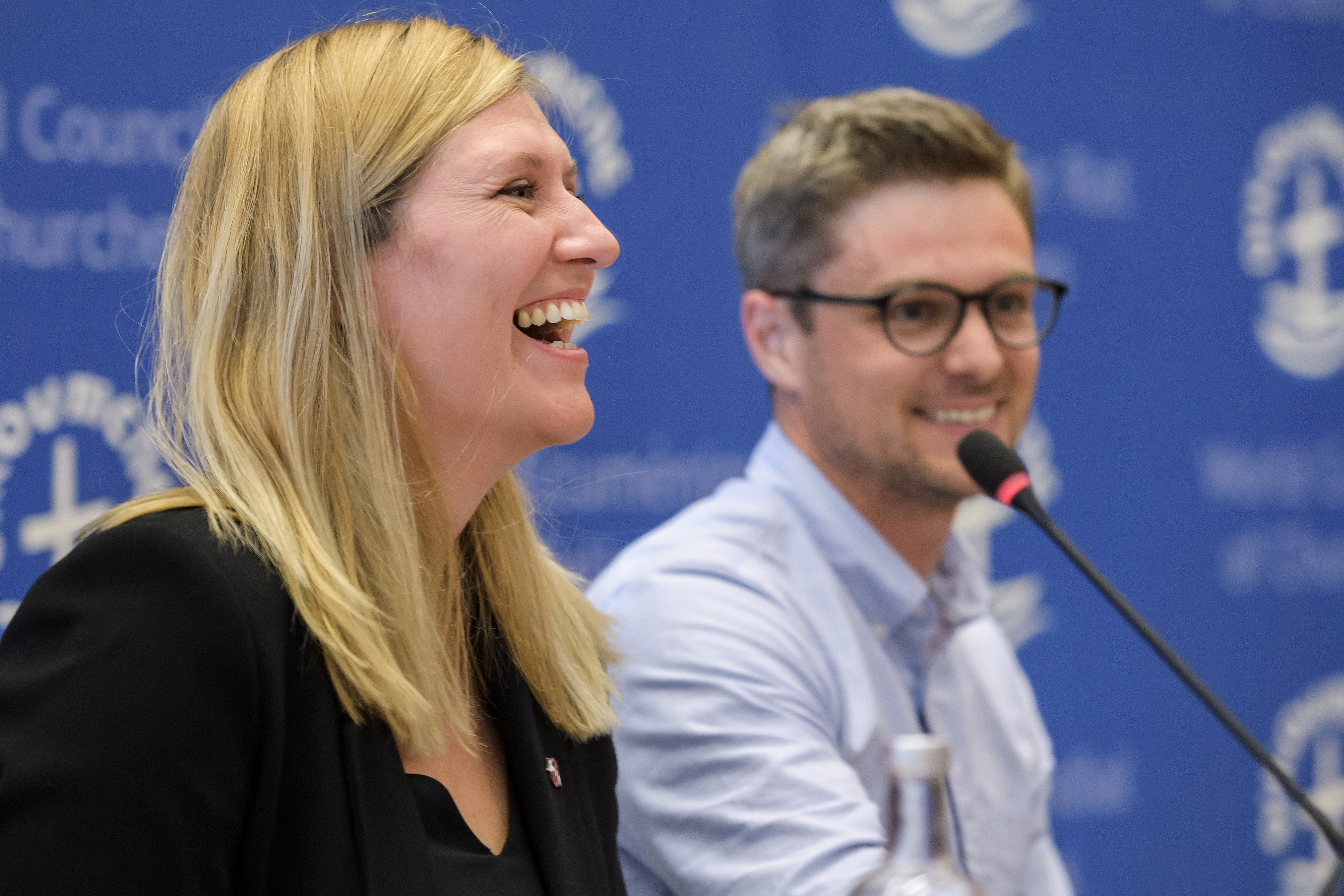 ICAN Executive director Beatrice Fihn (L) reacts next to coordinator Daniel Hogstan (R) during a press conference after ICAN won the Nobel Peace Prize on October 6, 2017 in Geneva.