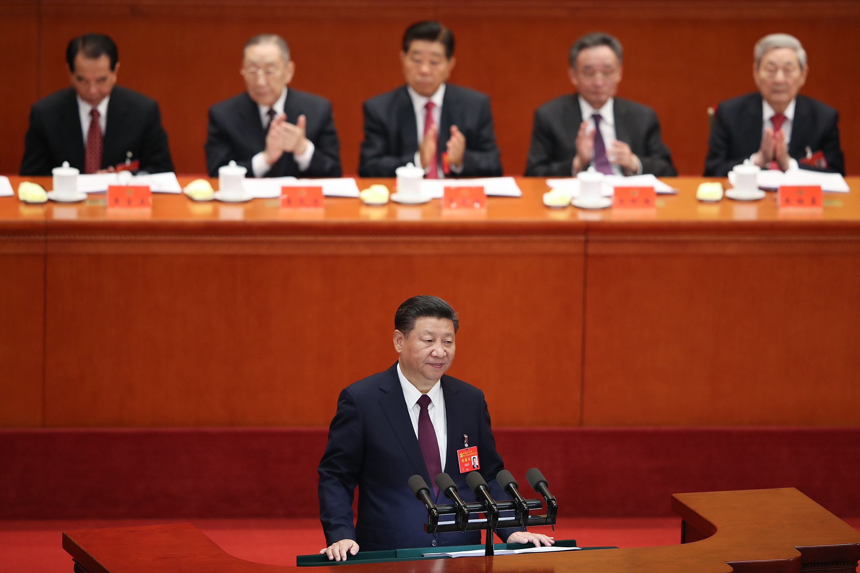 Chinese president Xi Jinping delivers a speech during the opening session of the 19th Communist Party Congress held at the Great Hall of the People on October 18, 2017 in Beijing, China.