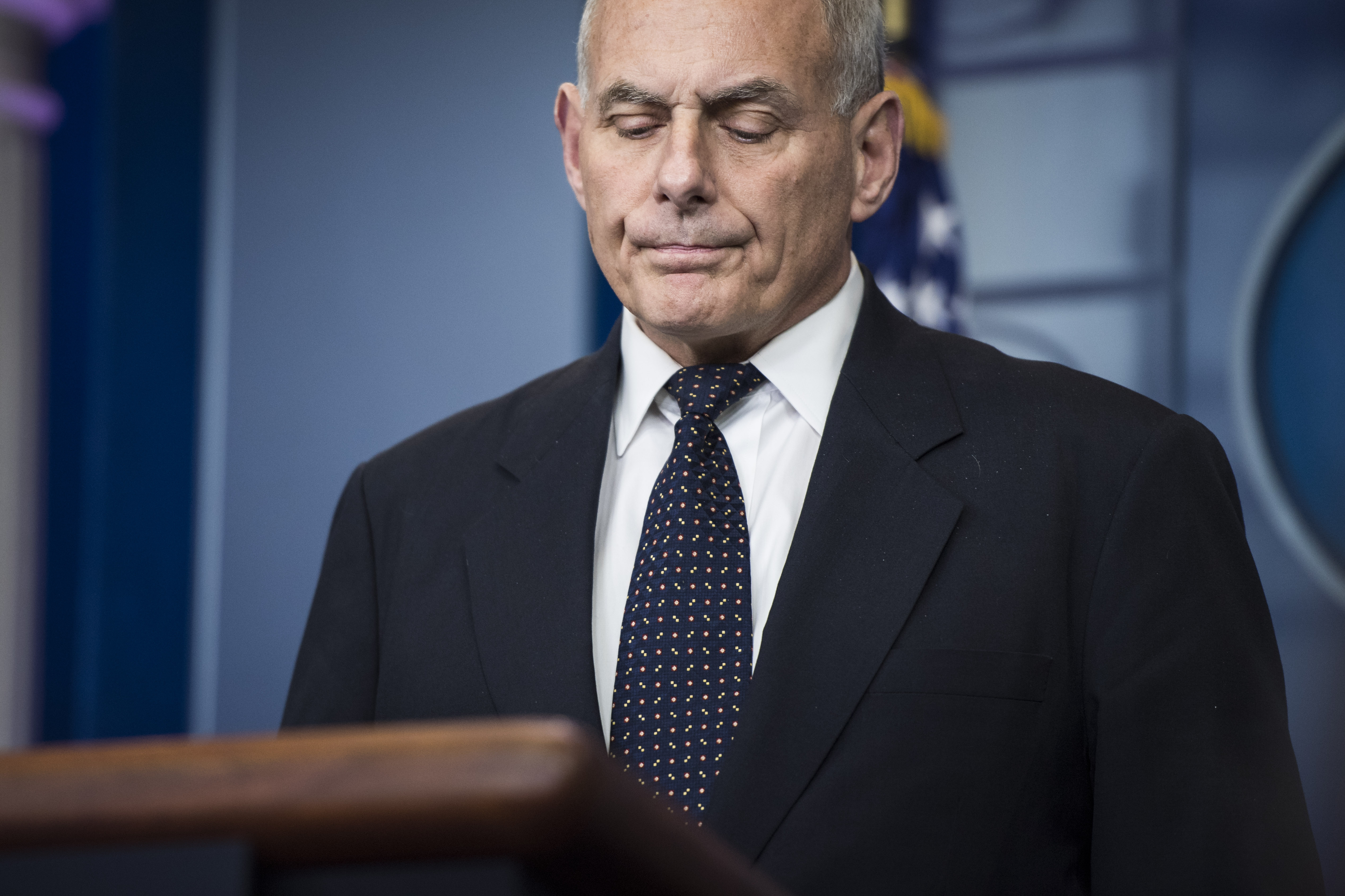 White House Chief of Staff John F. Kelly takes questions and talks about his son during the daily press briefing at the White House in Washington, DC on Thursday, Oct. 19, 2017.