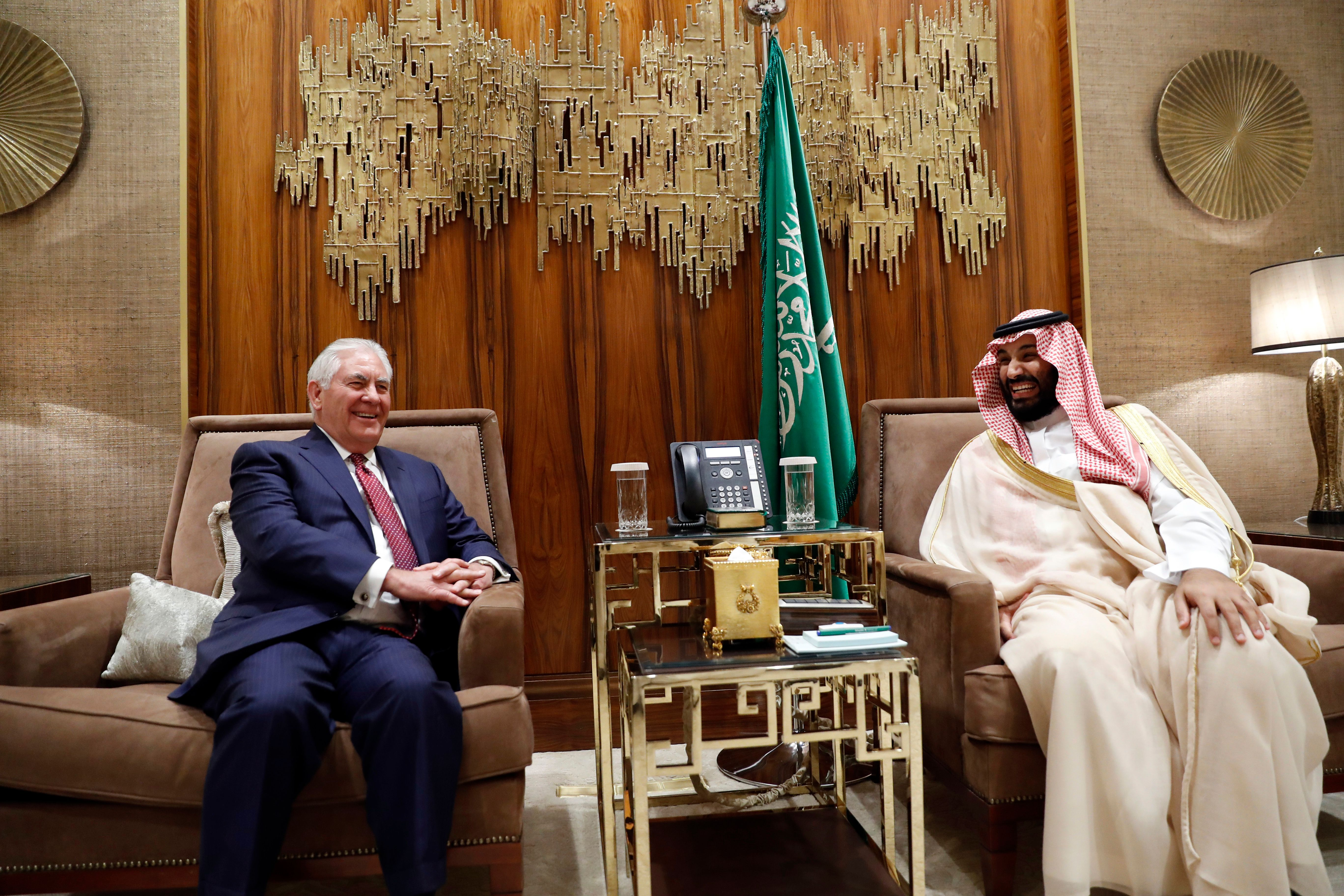 US Secretary of State Rex Tillerson meets with Saudi Crown Prince Mohammed bin Salman in Riyadh on October 22, 2017.