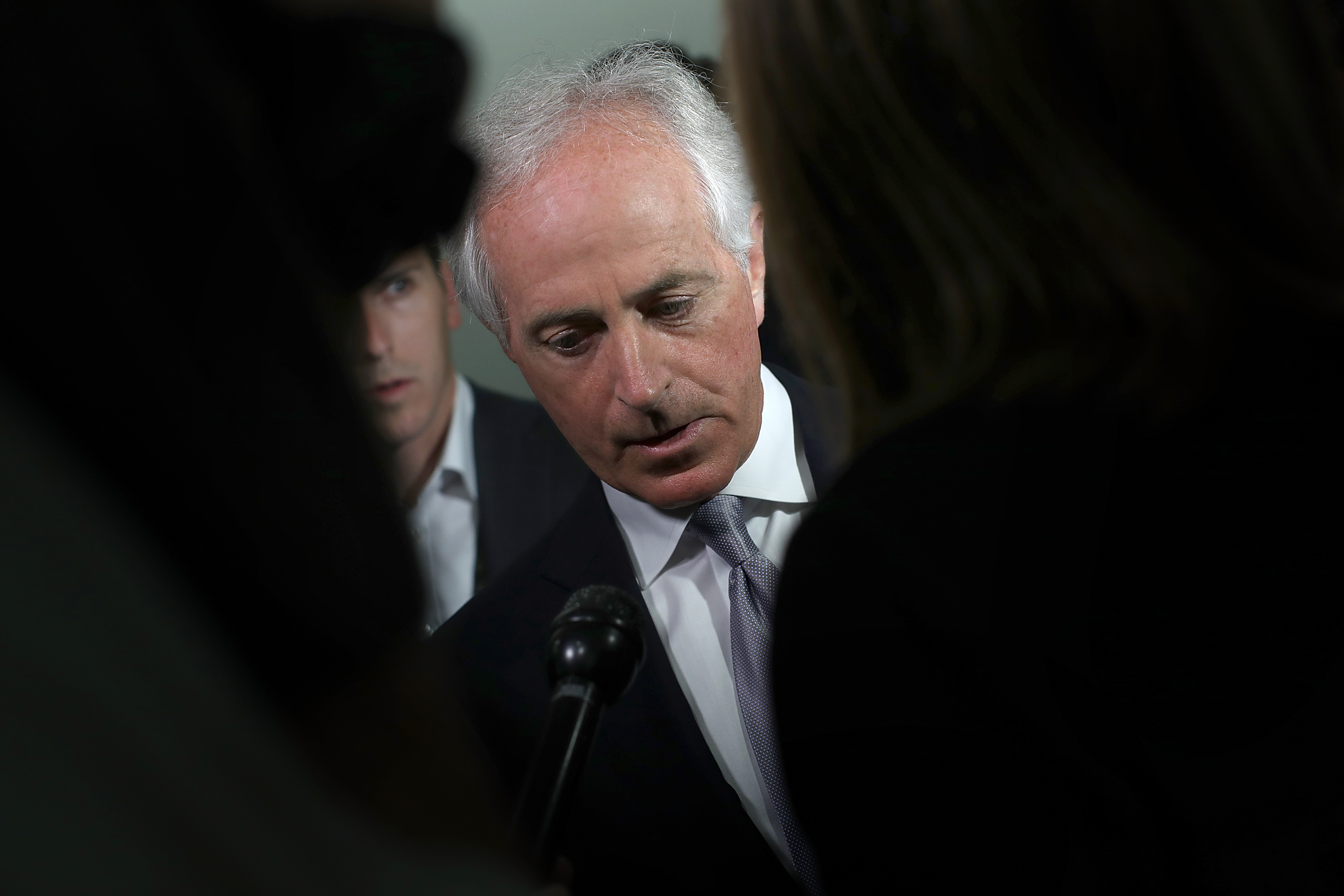WASHINGTON, DC - OCT. 24:  Sen. Bob Corker (R-TN) speaks to members of the press on Capitol Hill about U.S. President Donald Trump.