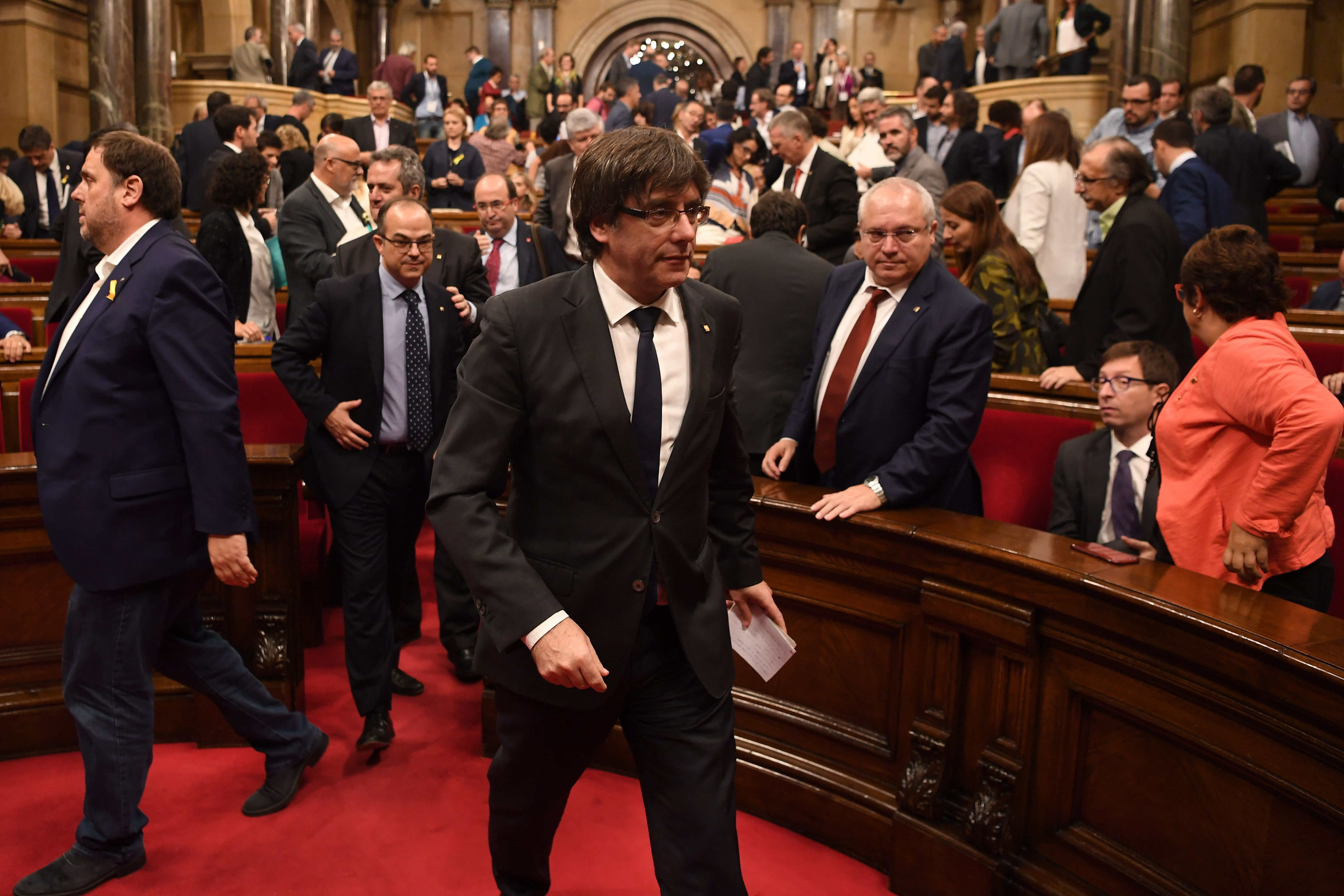 Catalan President Carles Puigdemont a meeting of the regional government  on Oct. 26, 2017.