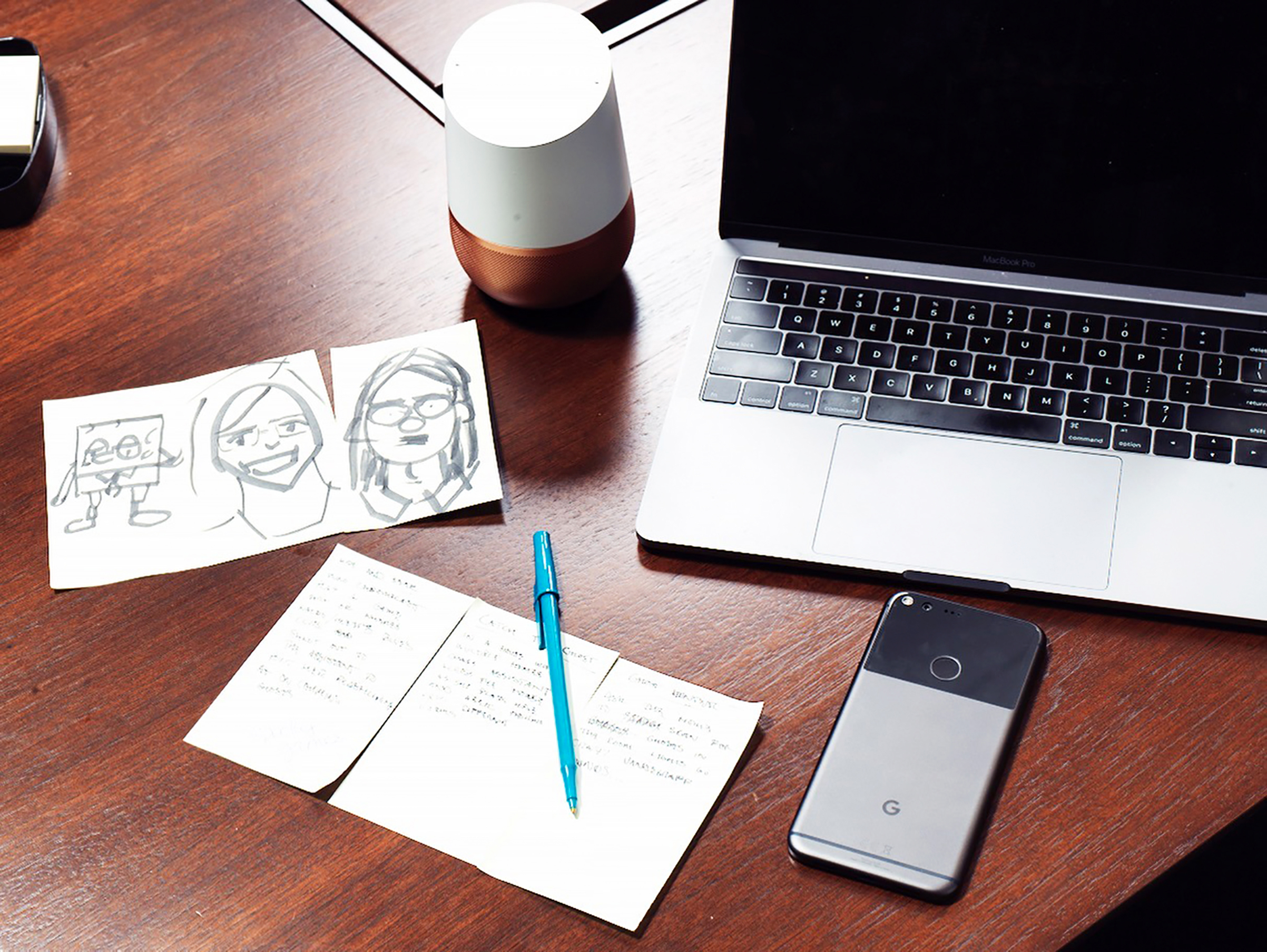 Google's personality team draws on a broad range of sources to hone the character of the company's voice-enabled Assistant. Writers use notes and doodles to track potential ideas that eventually show up in products like this white-and-brass-colored Google Home, top center, and the Pixel smartphone, bottom right.