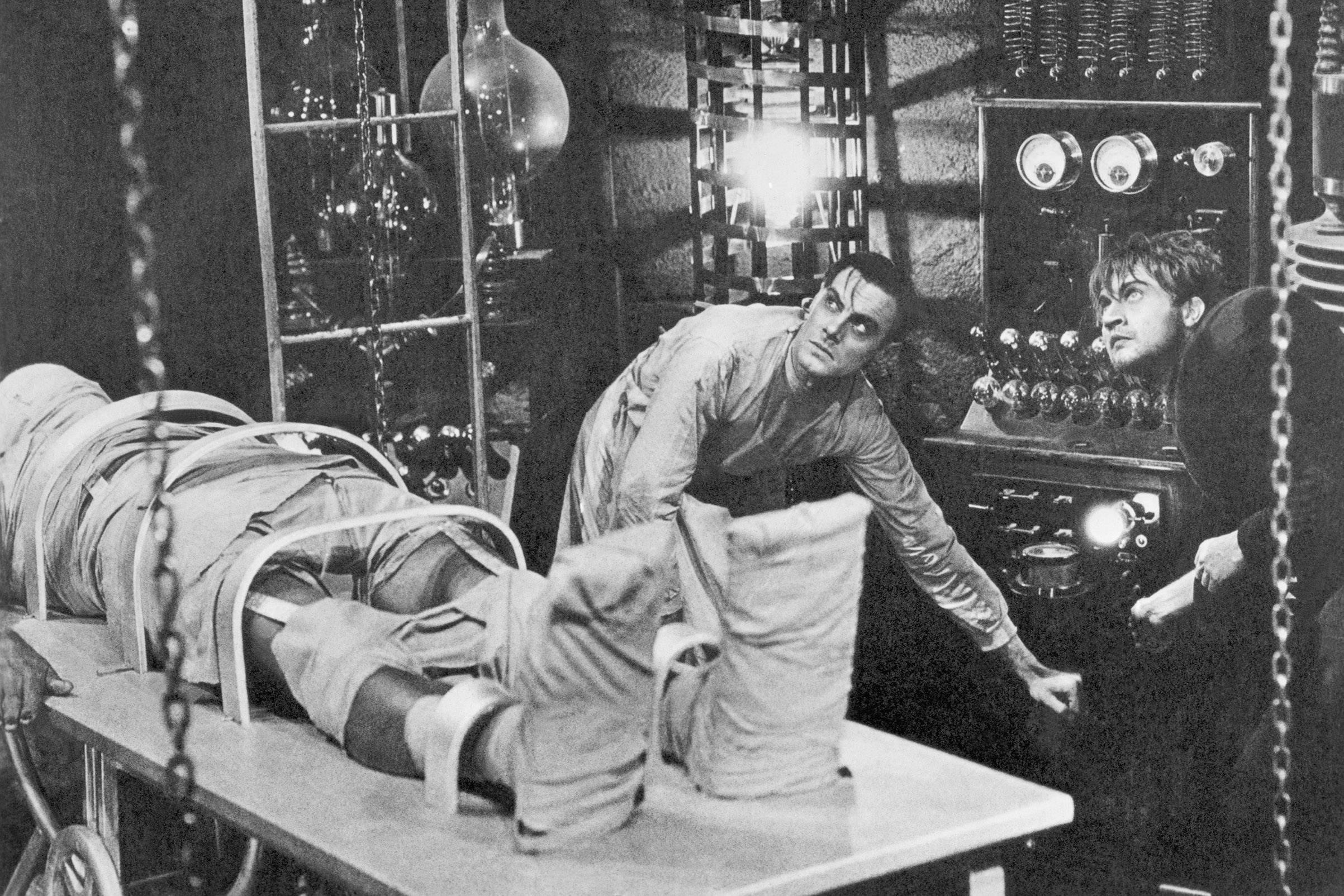 Boris Karloff, Colin Clive and Dwight Frye in a scene from the 1931 Universal Pictures production of Frankenstein.