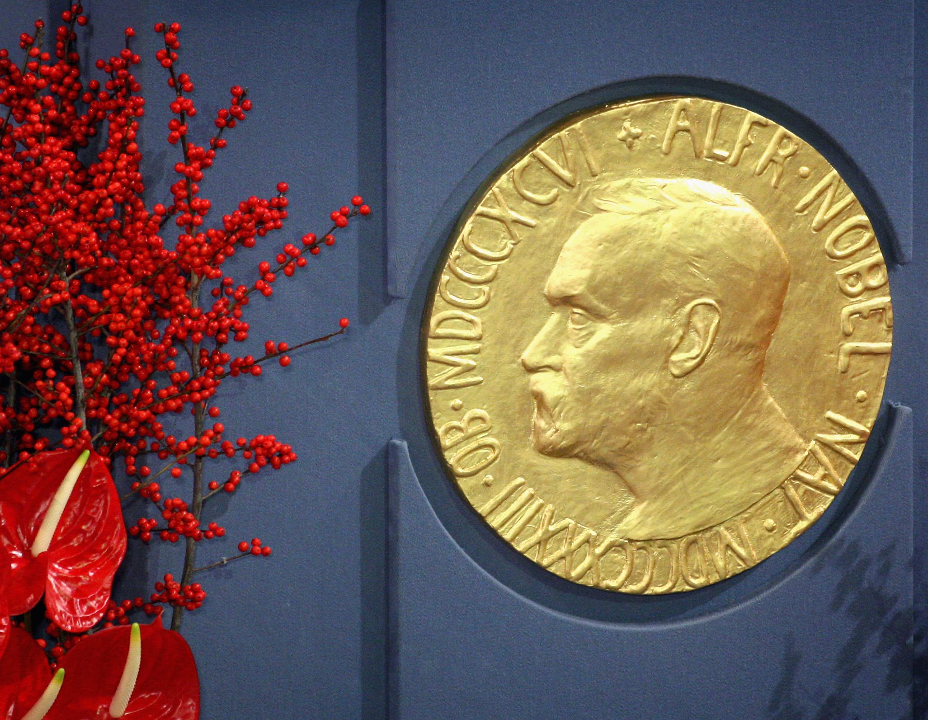 A plaque depicting Alfred Nobel at the Nobel Peace Prize Ceremony 2008 in Oslo City Hall on December 10, 2008 in Oslo, Norway.