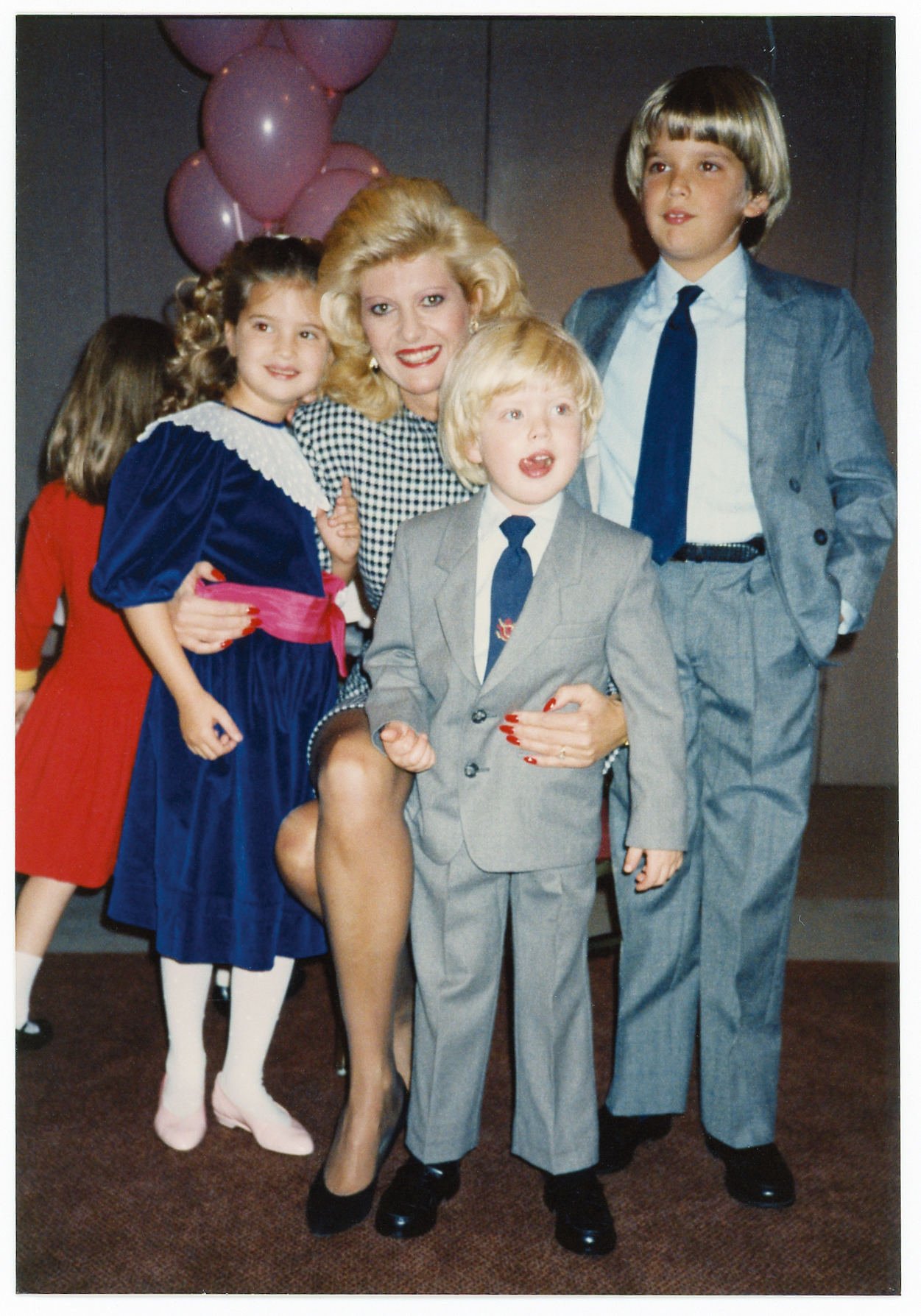"""Another Plaza birthday party. Ivanka loved those velvet dresses and the boys                                   looked adorable in their little suits, circa 1987."""
