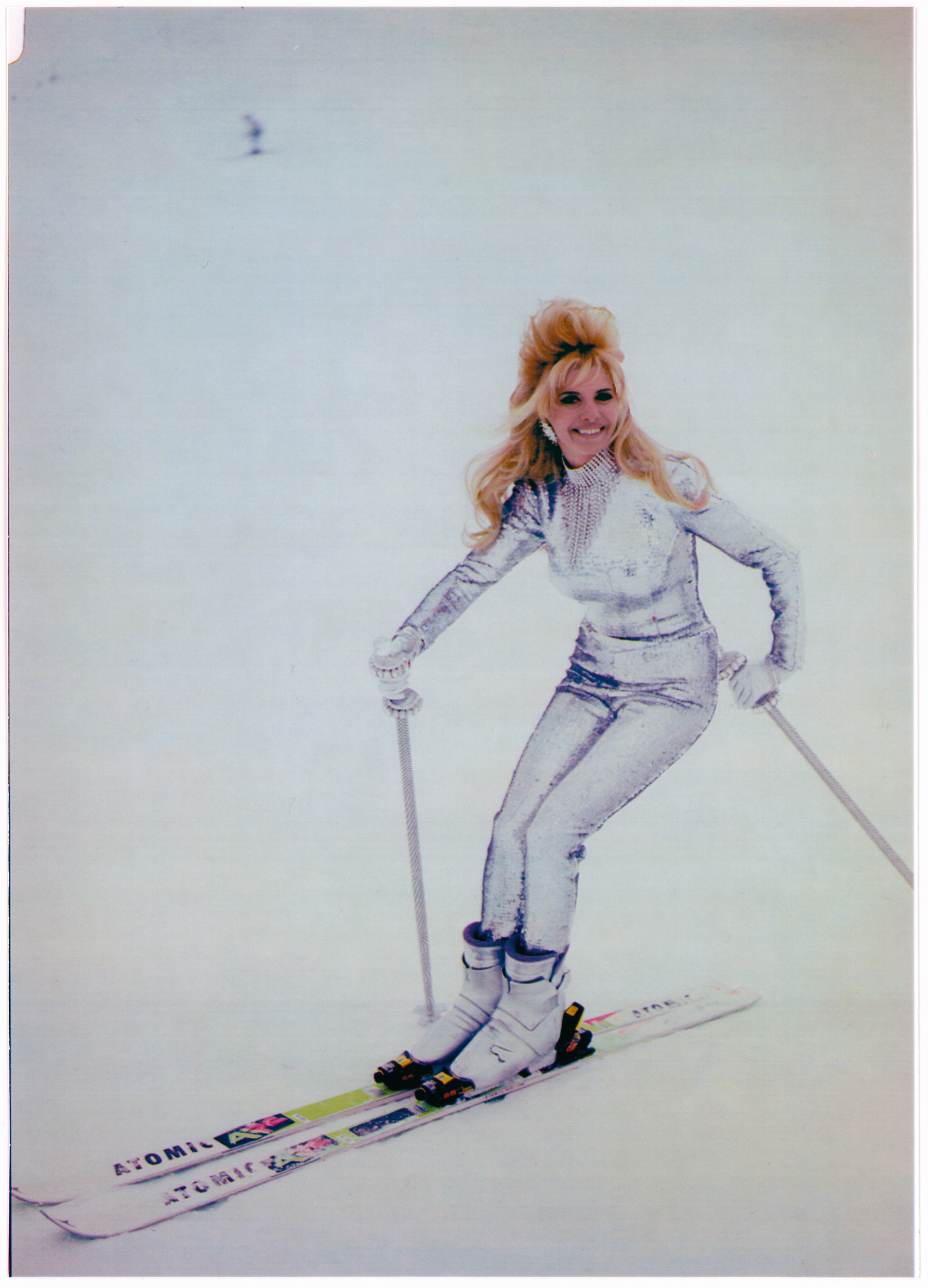 """Skiing in Aspen in the nineties. No                                   puffy coats or knit hats for me, ever!"""
