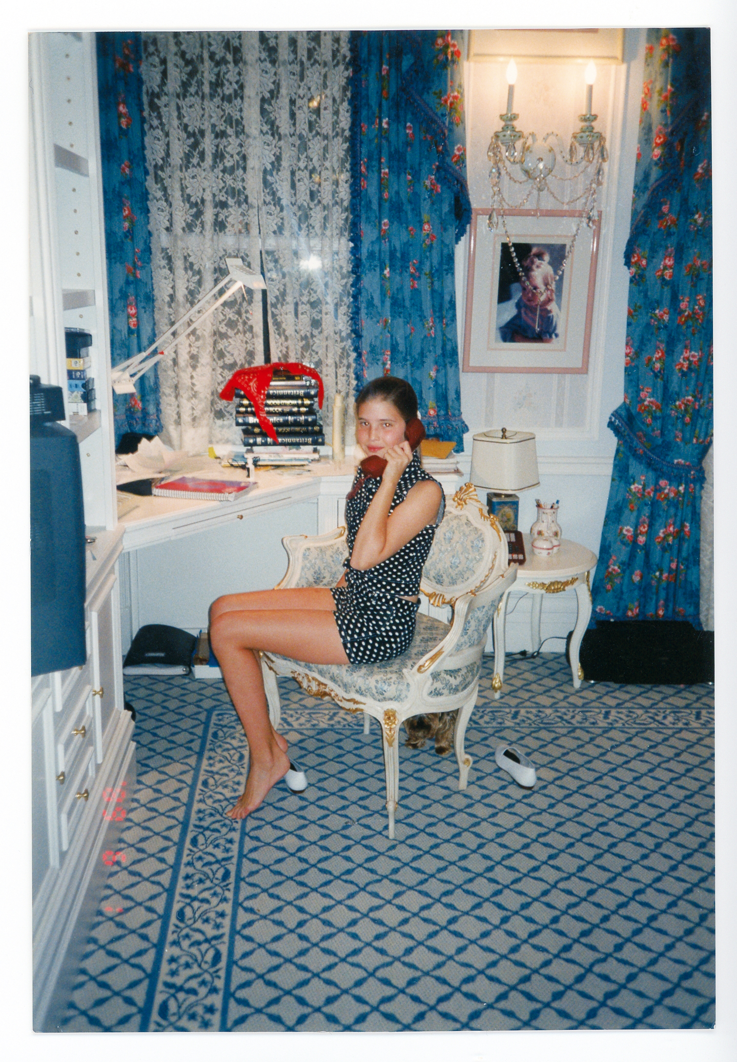 """Teenage Ivanka in her room on East                                   Sixty-Fourth Street, circa 1994, on                                   the phone as always!"""