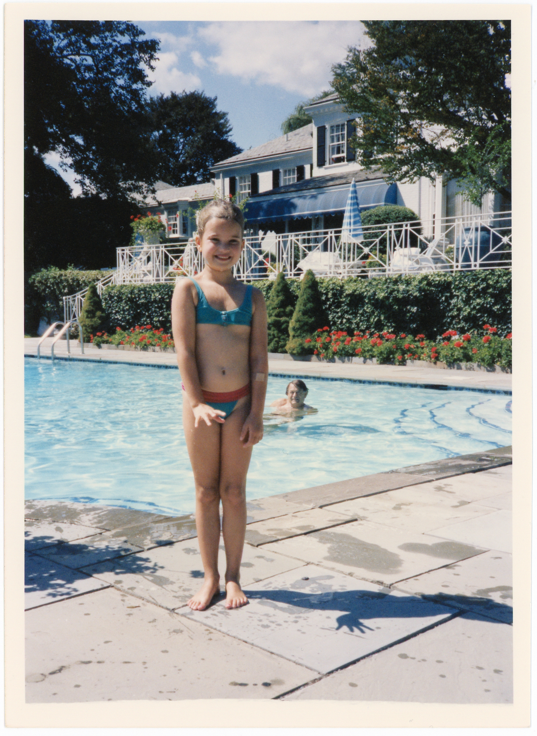 """Ivanka and Dedo at the pool in Greenwich, circa 1986."""