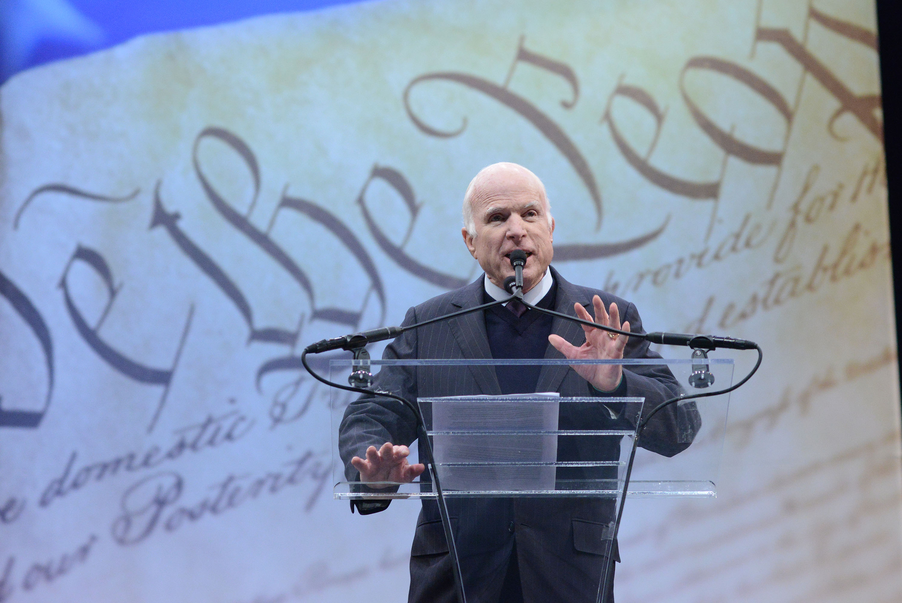 Sen. John McCain (R-AZ) makes remarks after receiving the the 2017 Liberty Medal from former Vice President Joe Biden at the National Constitution Center on Oct. 16, 2017 in Philadelphia.