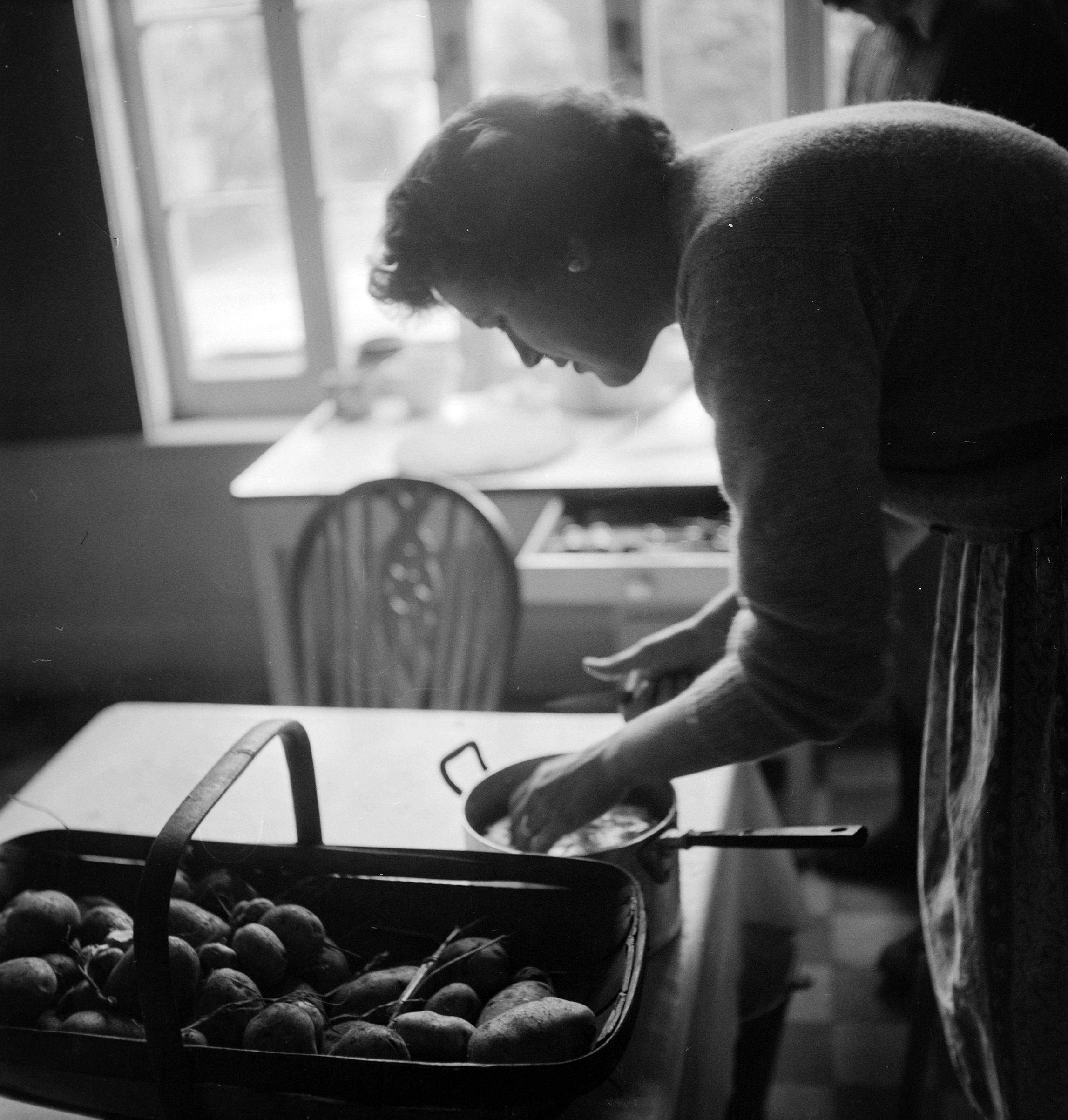 Julia in the kitchen, London, 1952.