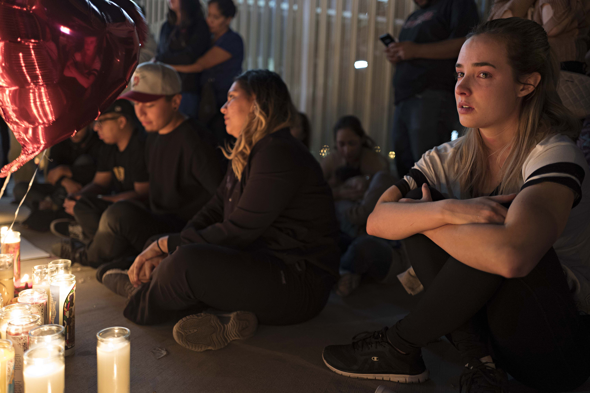A street vigil held for victims of Sunday's mass shooting, at a main intersection on Las Vegas Boulevard on Oct. 2, 2017.