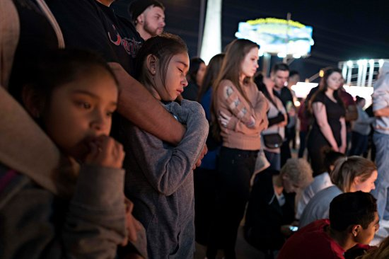 A street vigil held at Las Vegas Boulevard and Sahara Avenue, October 2, 2017.  photograph by Matt Stuart—Magnum for TIME