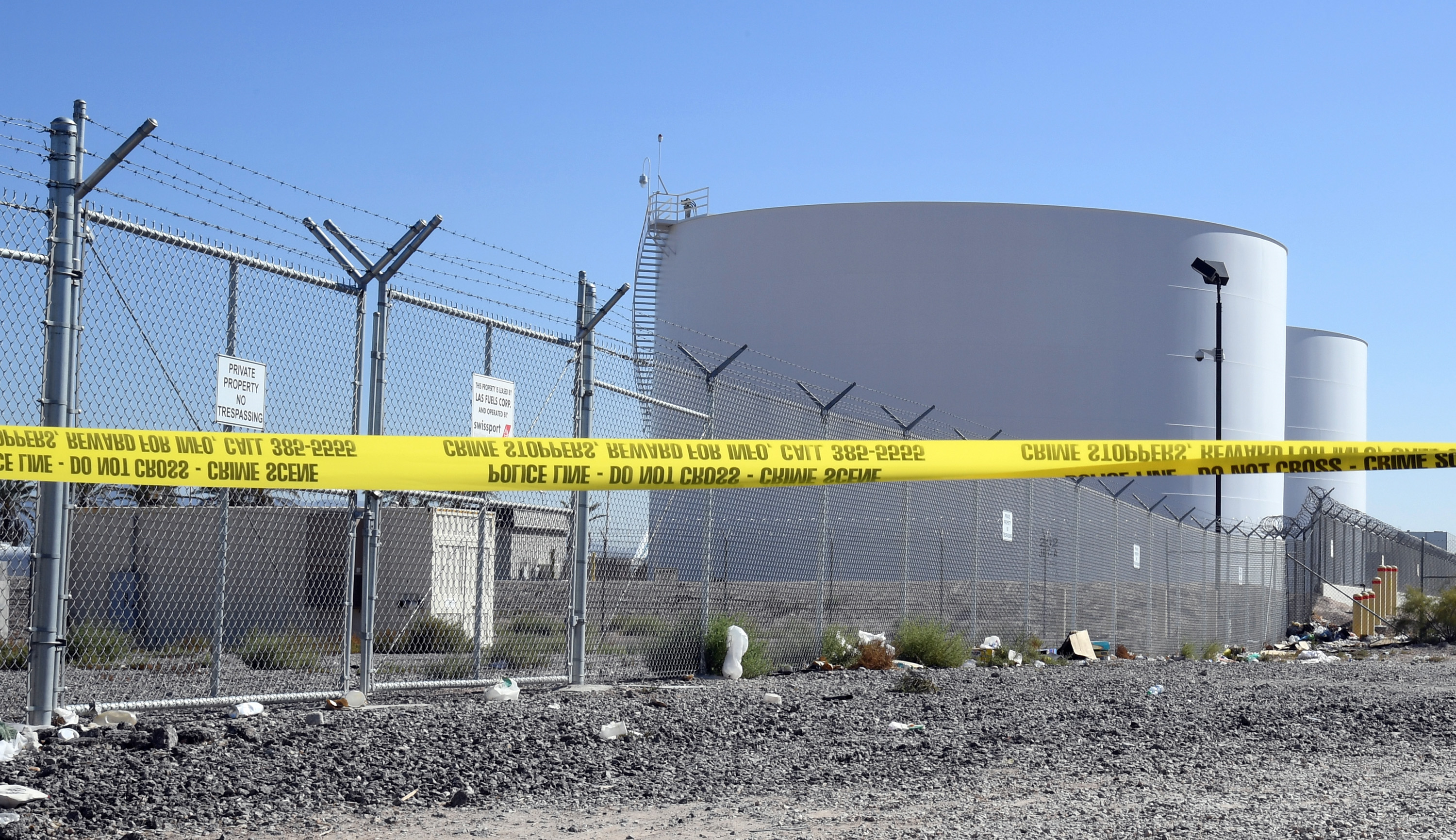 Jet fuel tanks just east of the Las Vegas Village, site of the Route 91 Harvest country music festival, that were targeted by gunman Stephen Paddock during Sunday's mass shooting are shown on Oct. 5, 2017.