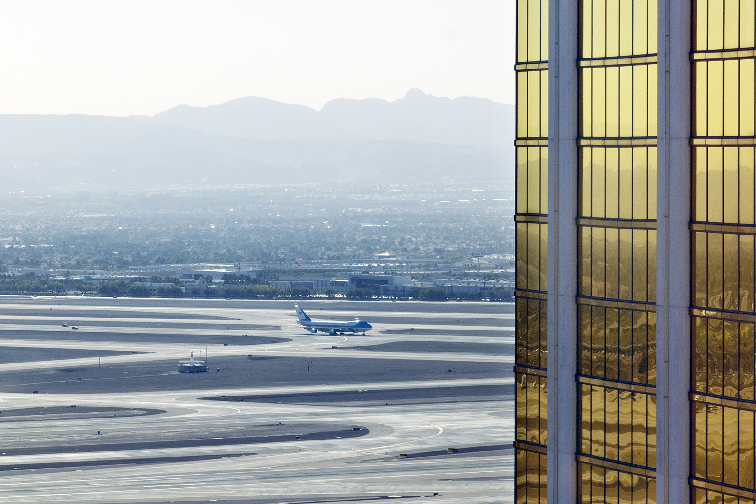 President Trump arrives on Air Force One at McCarran International Airport, Las Vegas. Oct. 4, 2017. The Mandalay Bay Resort and Casino is seen on the right.