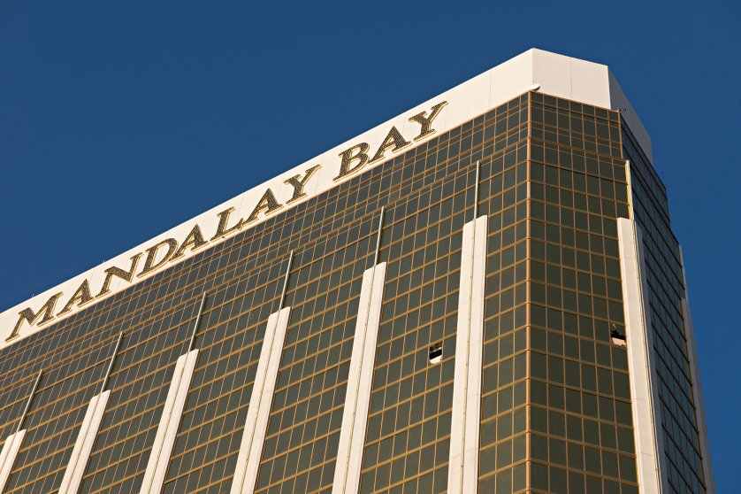 Broken windows on the 32nd floor of the Mandalay Bay Resort and Casino where a gunman opened fire on a concert crowd , Oct. 4, 2017.