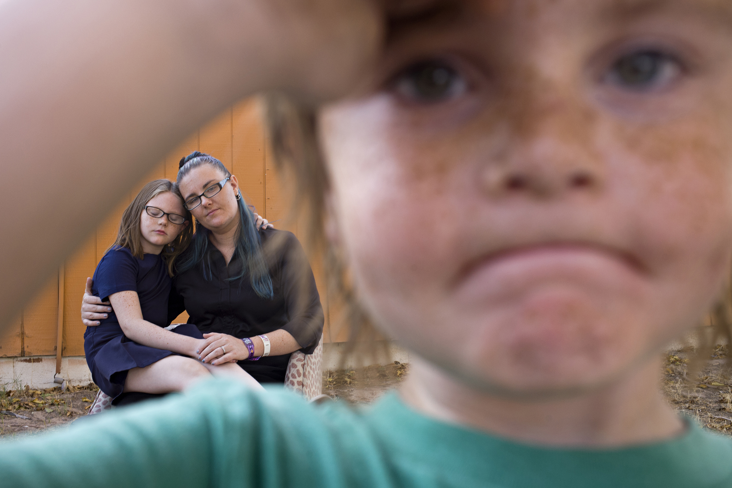 Doris Huser with her children Cordelia and Aden, survivors of the mass shooting, Las Vegas, Oct. 4, 2017.