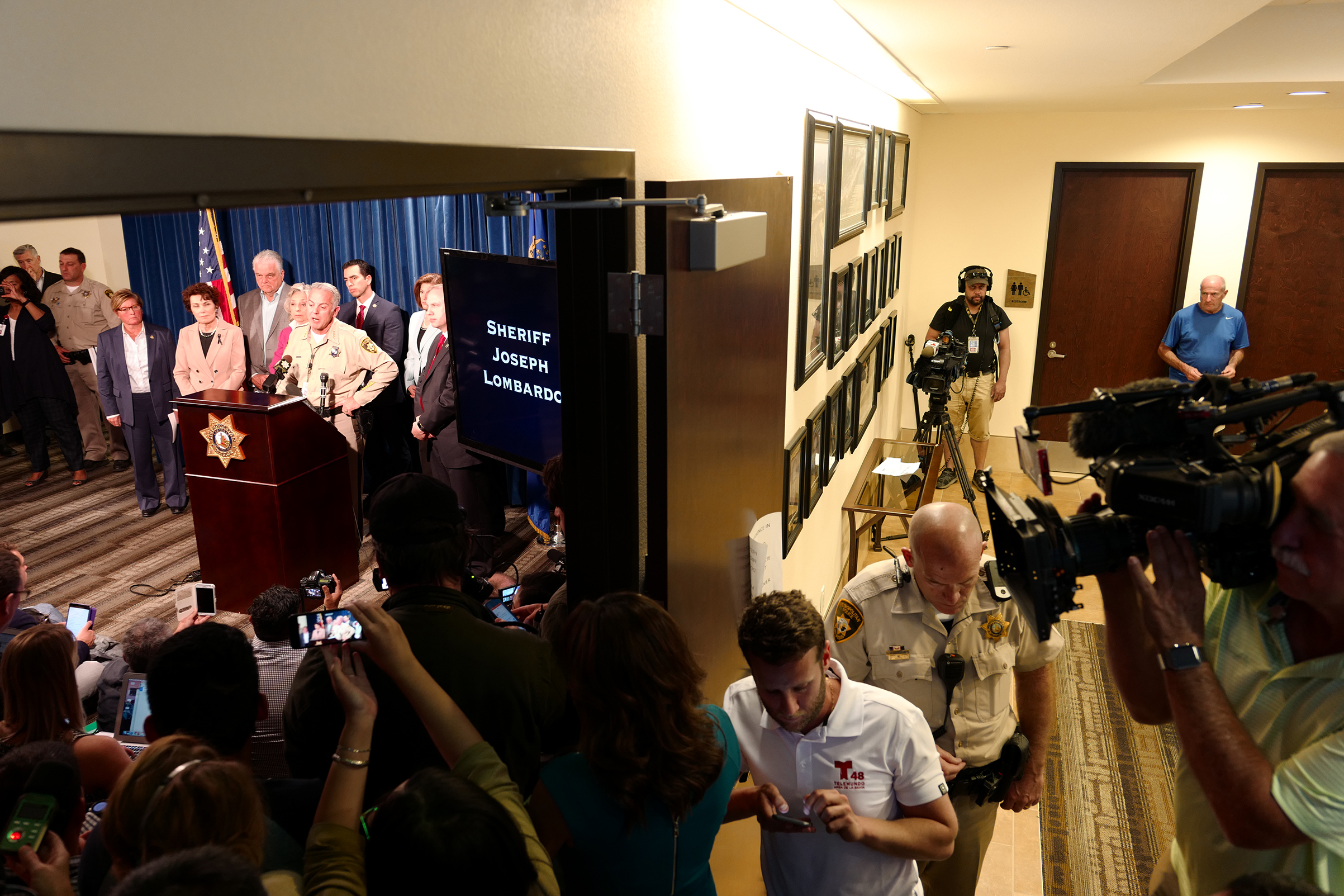 Clark County Sheriff Joe Lombardo briefs reporters on the ongoing investigation of the shooting, at Las Vegas Metropolitan Police Department headquarters, Oct. 3, 2017.