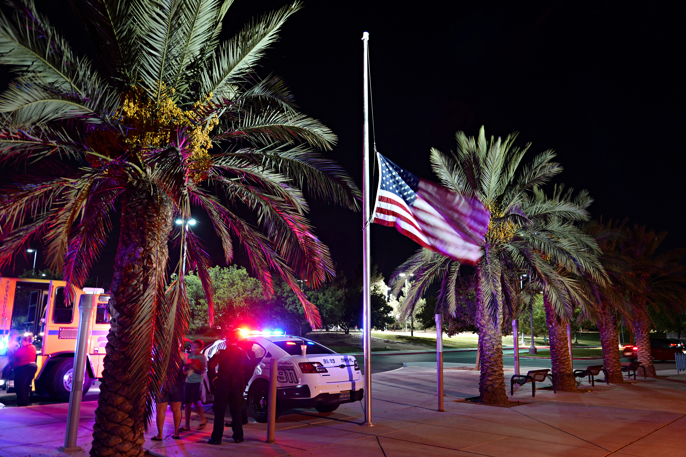 A flag at half-staff in honor of the victims and survivors of the mass shooting, Las Vegas, Oct. 3, 2017.