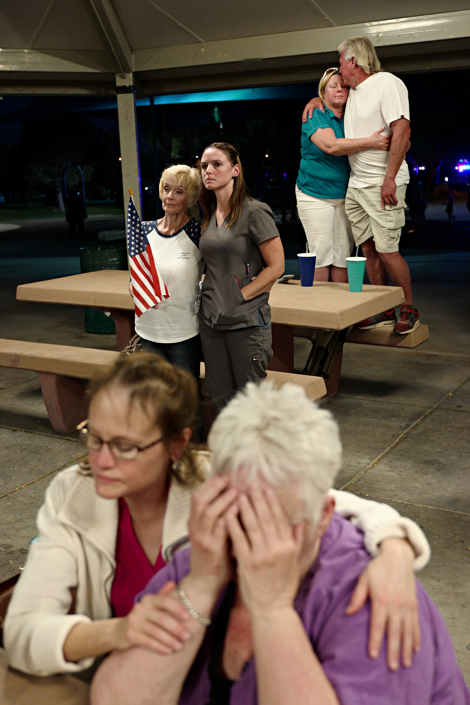 A prayer vigil held at Mountain Crest Park for the victims of the shooting, Oct.3, 2017.
