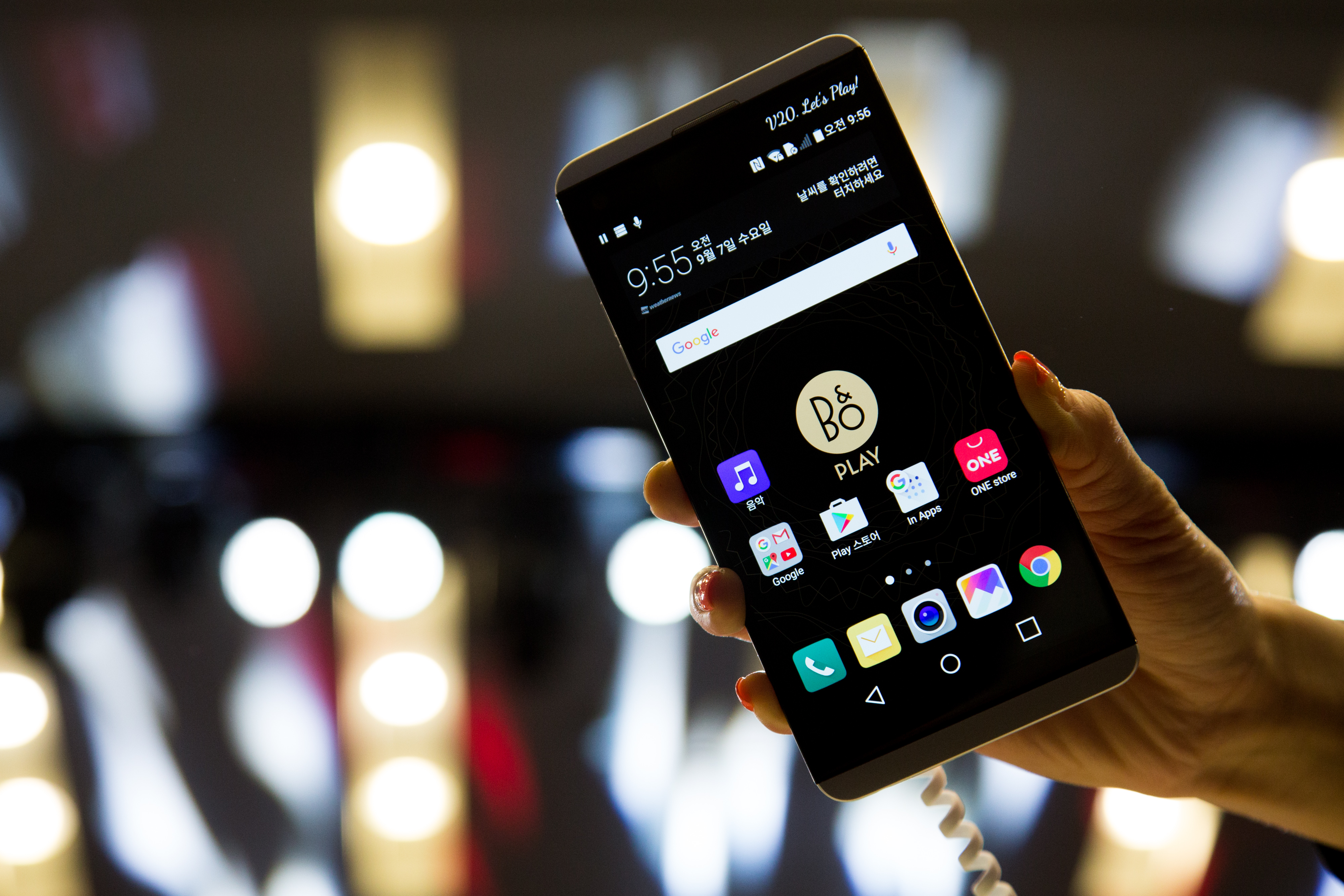 An LG Electronics Inc. V20 smartphone is displayed during a launch event in Seoul, South Korea, on Sept. 7, 2016.