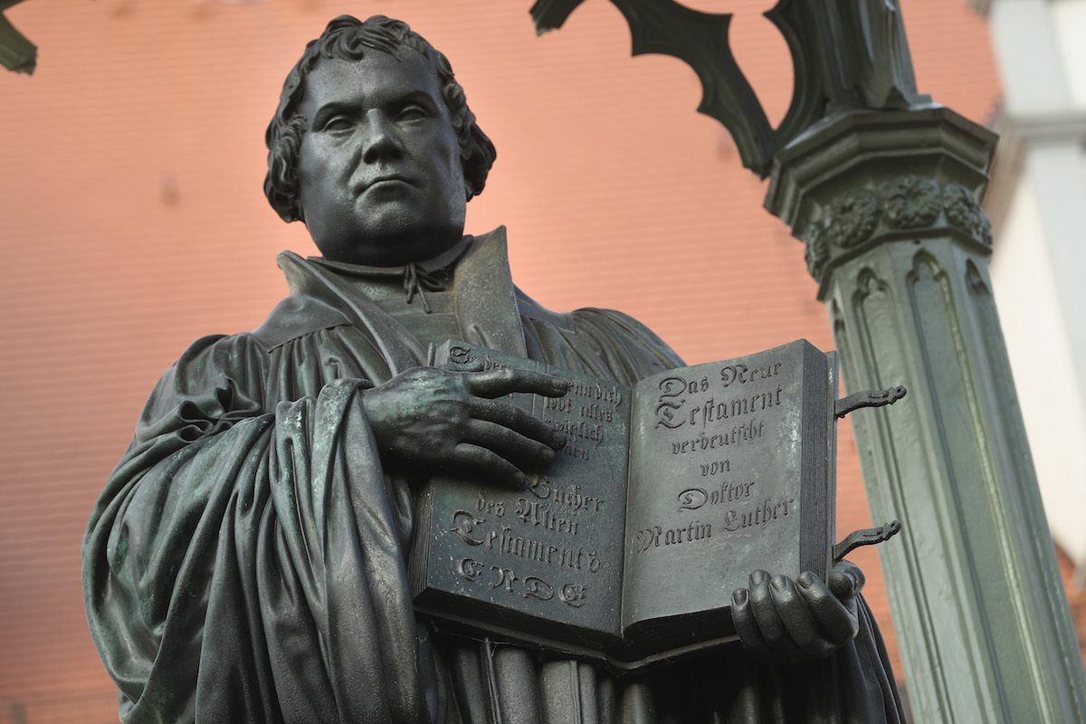 A statue of 16th-century theologian Martin Luther stands on Marktplatz square on Oct. 20, 2016 in Wittenberg, Germany.