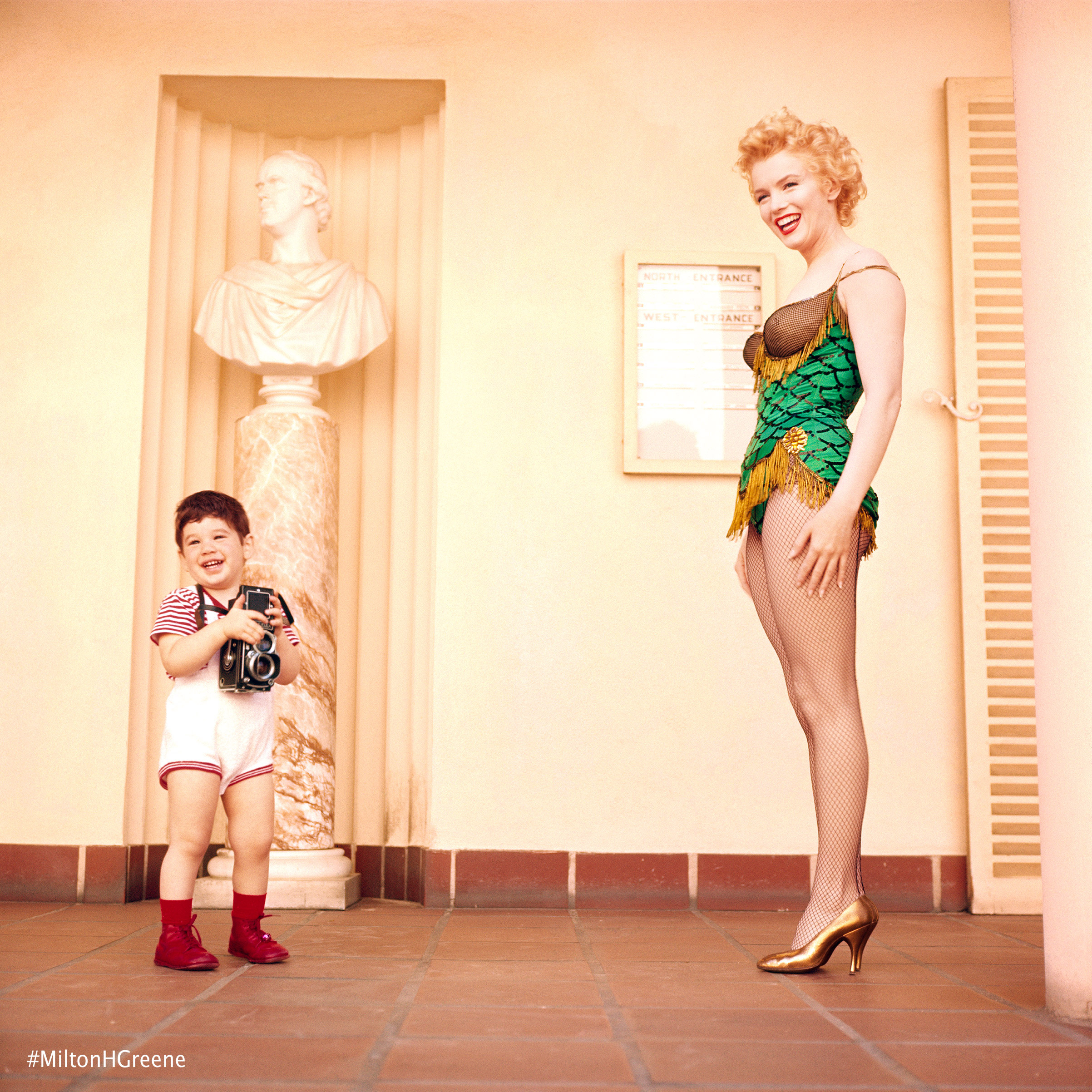 Joshua Greene with Marilyn Monroe from the Bus Stop session, 1956. Photographed by Milton H. Greene ©2017 Joshua Greene archiveimages.com