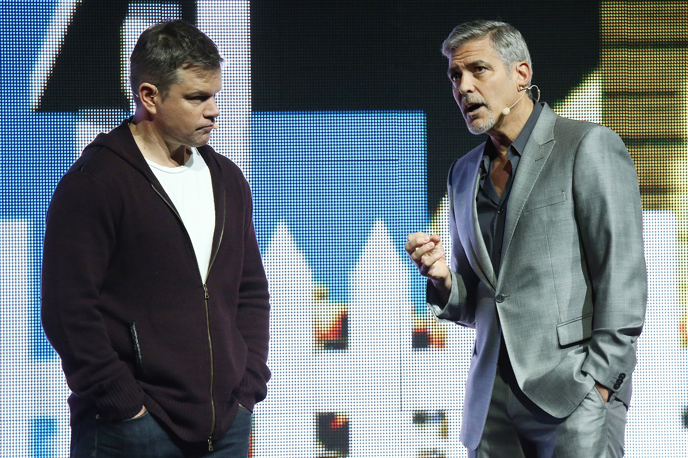 Matt Damon and George Clooney speak onstage at the Paramount Pictures' presentation, on March 28, 2017 in Las Vegas.