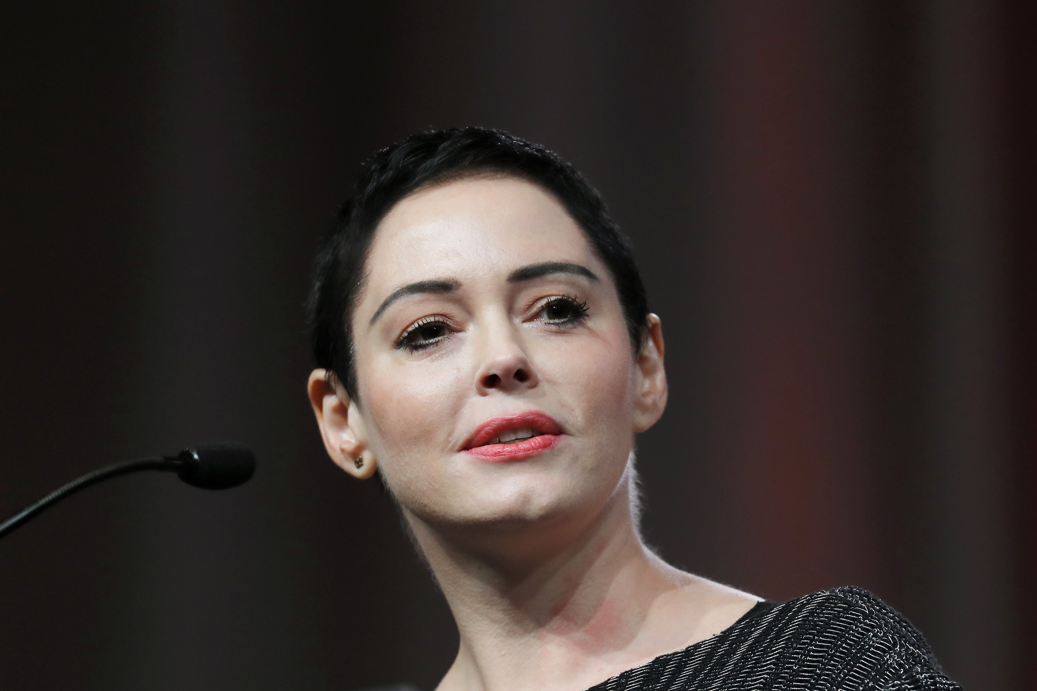 Actress Rose McGowan speaks at the inaugural Women's Convention in Detroit on Oct. 27, 2017.