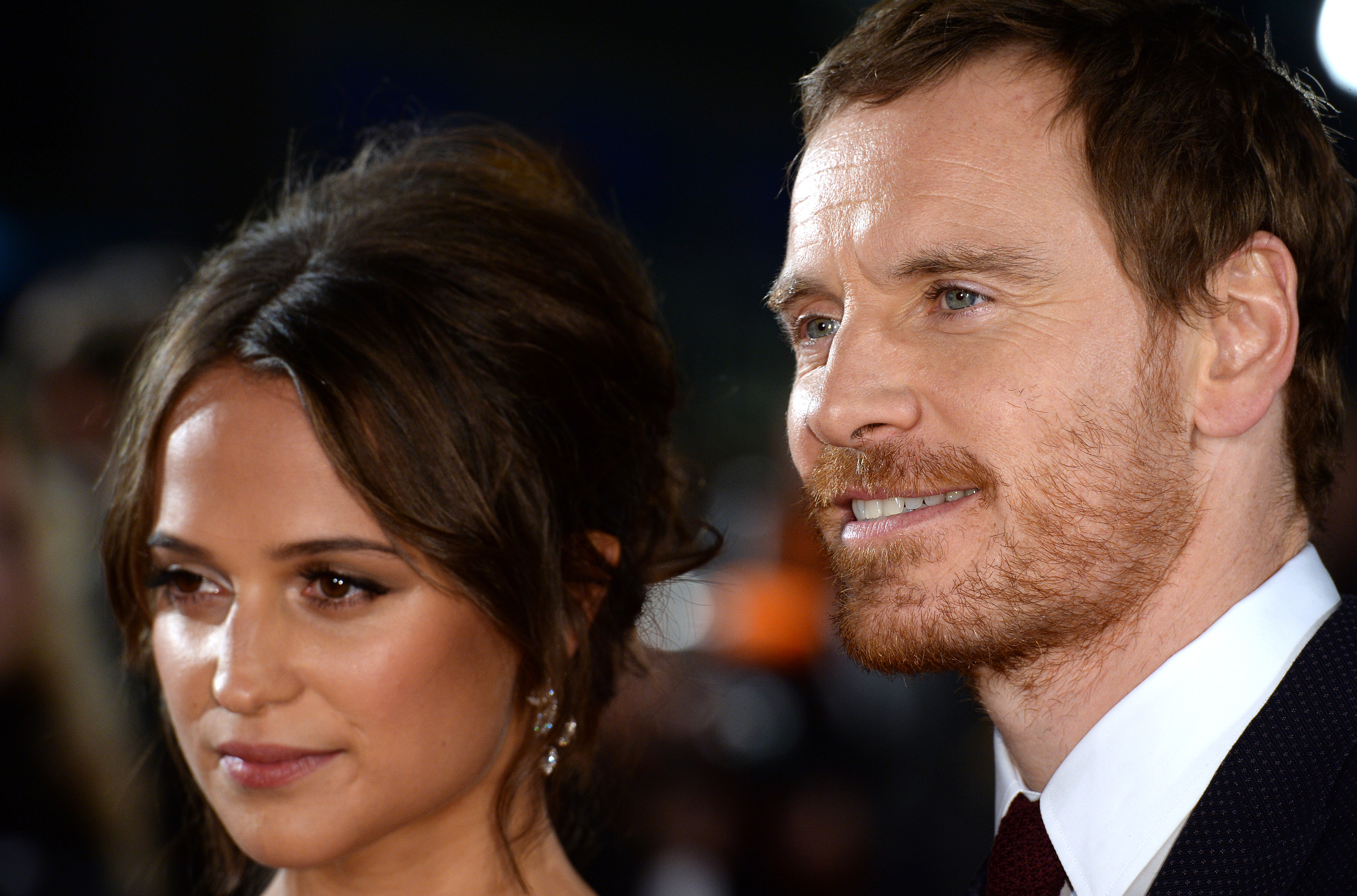 Michael Fassbender and Alicia Vikander arrive for the UK premiere of  The Light Between Oceans  at The Curzon Mayfair on October 19, 2016 in London, England.