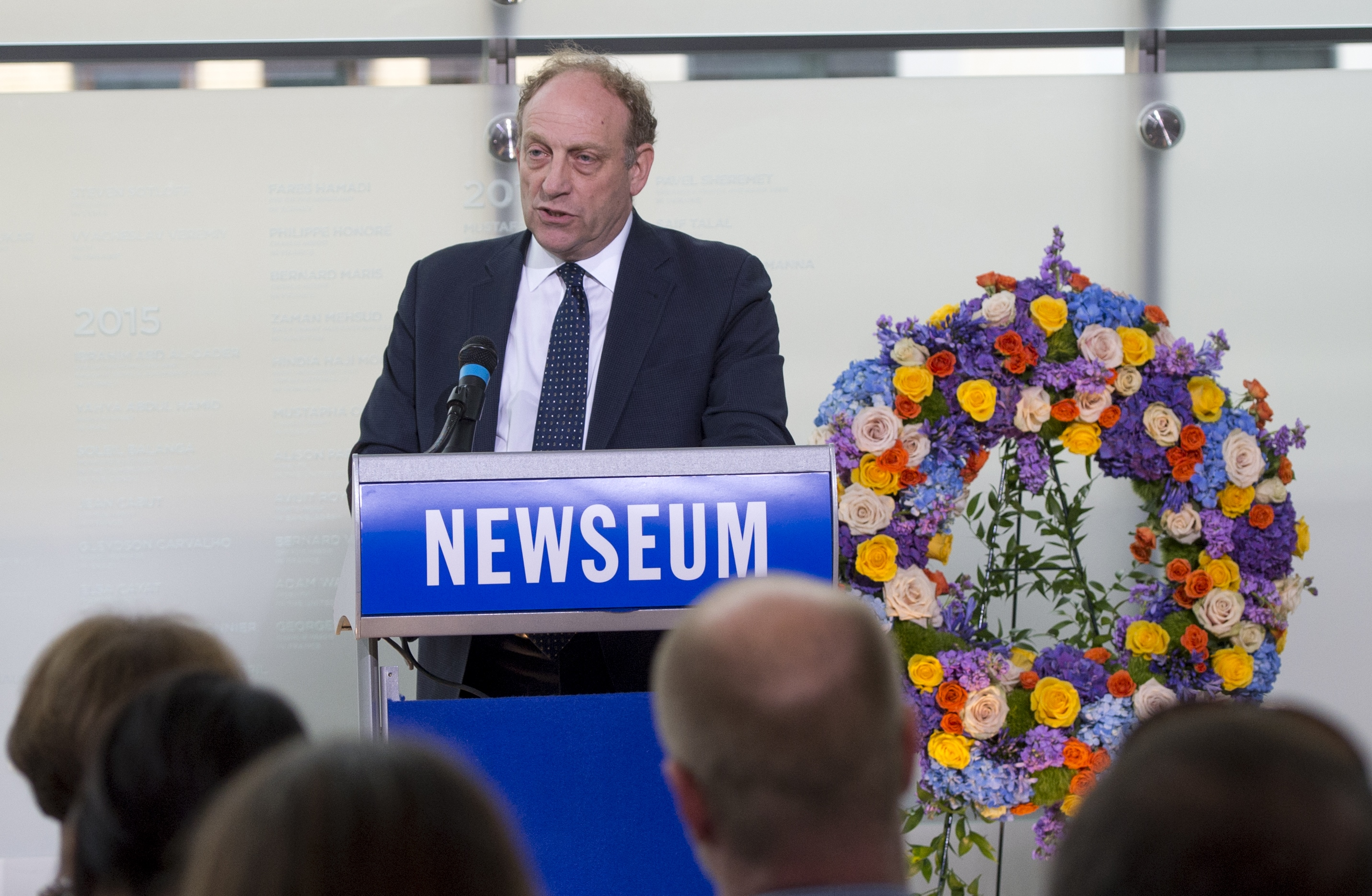 Michael Oreskes, senior vice president of news and editorial director of National Public Radio (NPR), speaks during the rededication of the Journalists Memorial at the Newseum in Washington, DC, June 5, 2017, as the names of 14 journalists who died or were killed while reporting the news in 2016 are added to the memorial. / AFP PHOTO / SAUL LOEB (Photo credit should read SAUL LOEB/AFP/Getty Images)